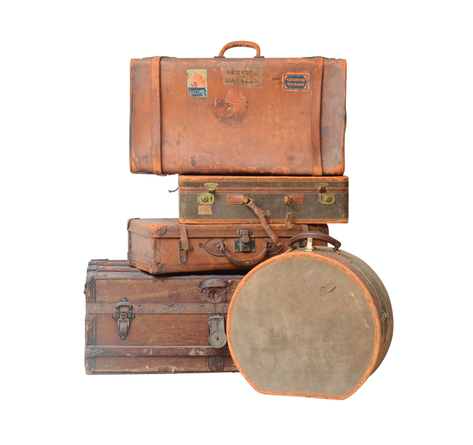 Antique Henry Weissman Travel Trunk and Luggage