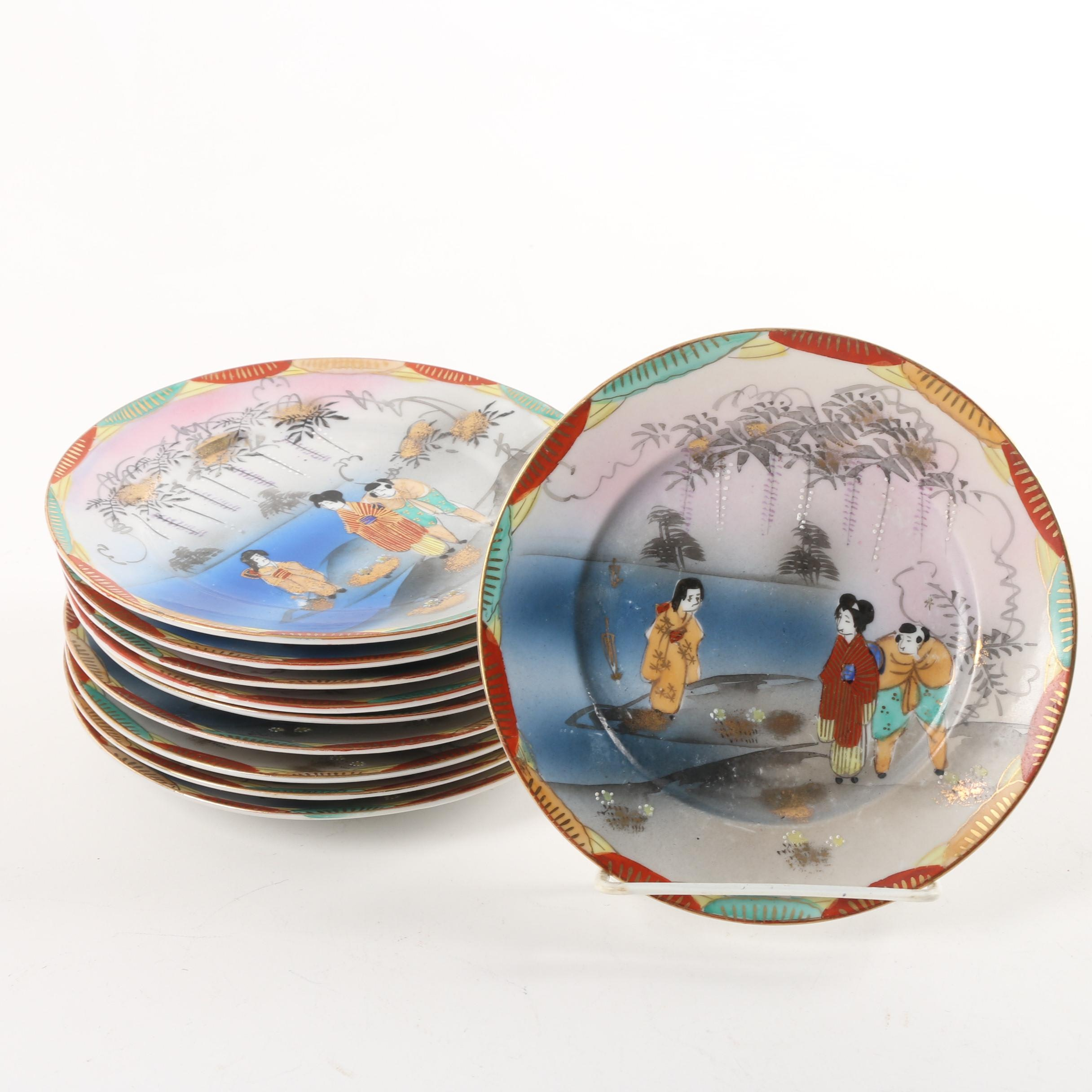 Hand-Painted Japanese Porcelain Plates