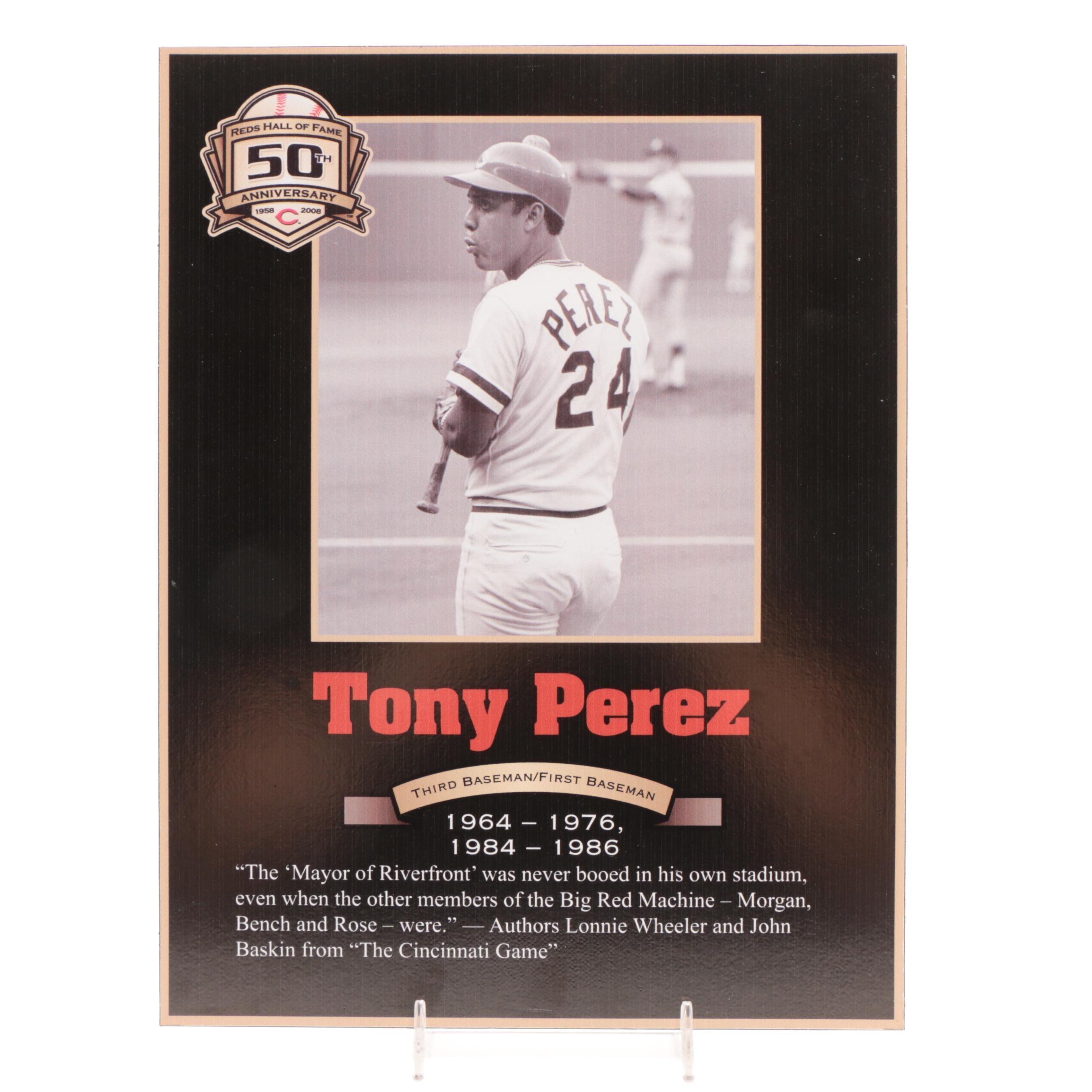 Tony Perez Cincinnati Reds Hall of Fame Photo Plaque COA