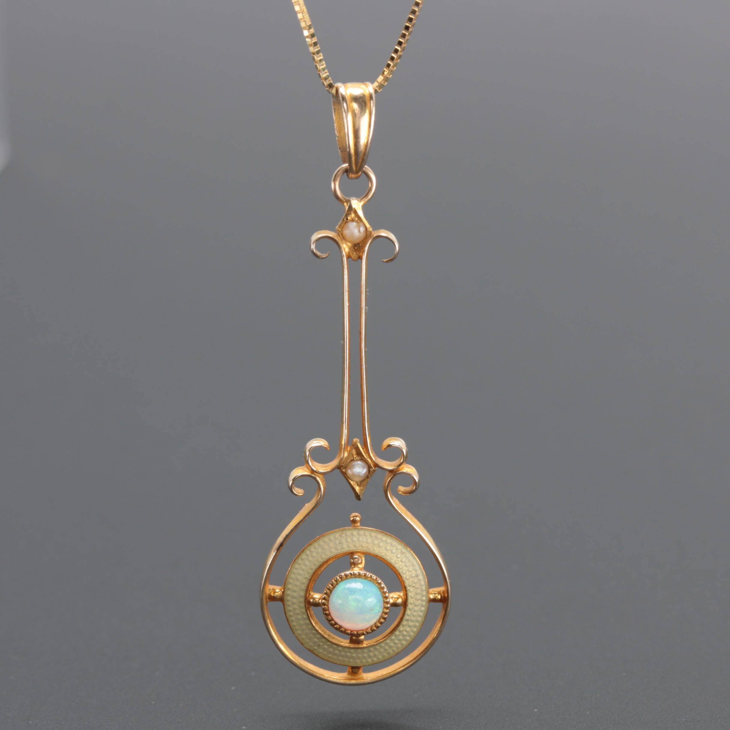 Arts and Crafts 10K and 14K Yellow Gold Gemstone Lavalier Pendant Necklace