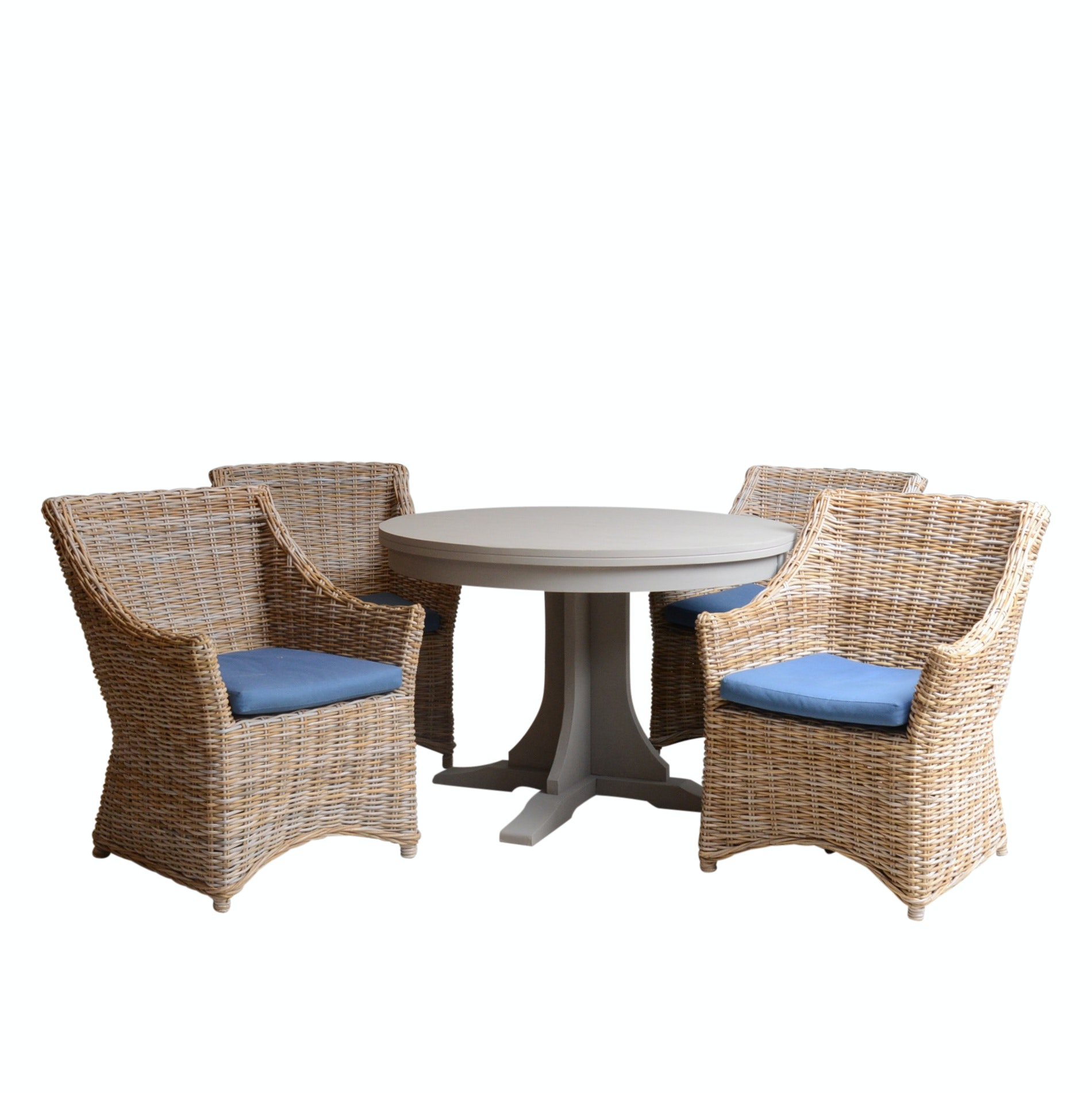 Michael Scott Pedestal Table with Four Woven Armchairs