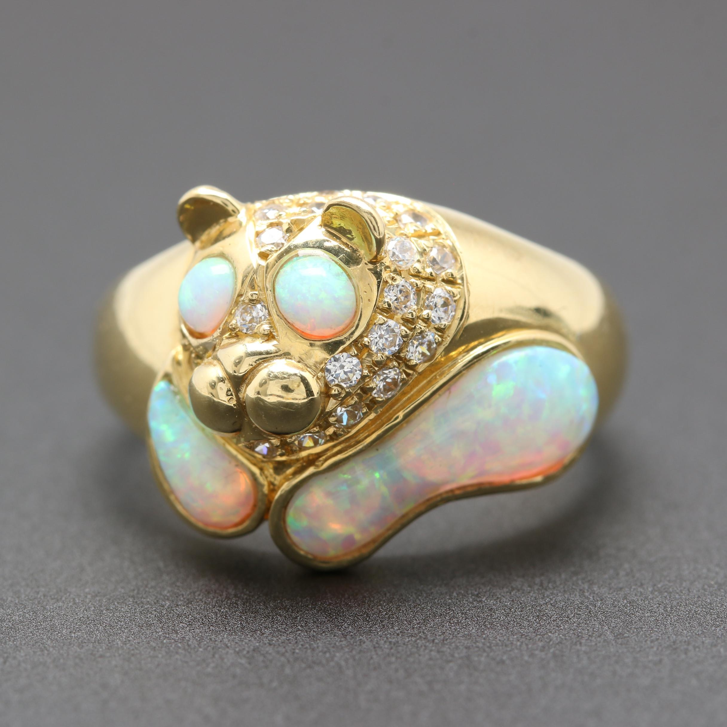 18K Yellow Gold  Synthetic Opal and Cubic Zirconia Animal Head Ring