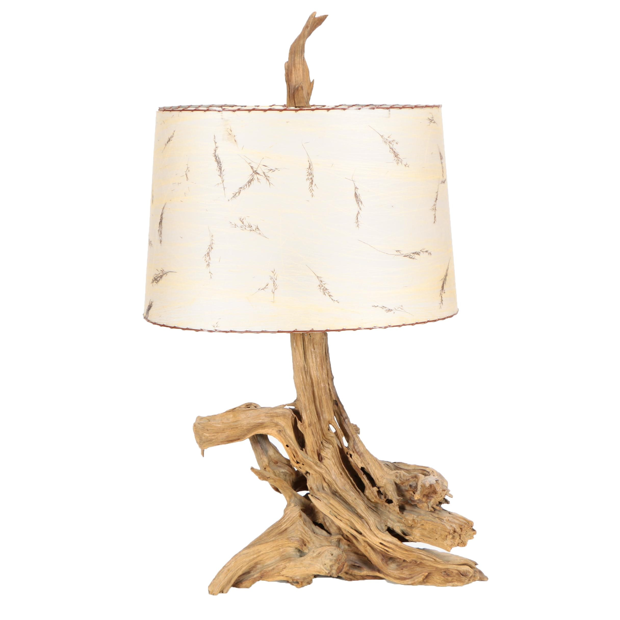 Mid-Century Driftwood Lamp with Organic Botanical Accented Parchment Shade