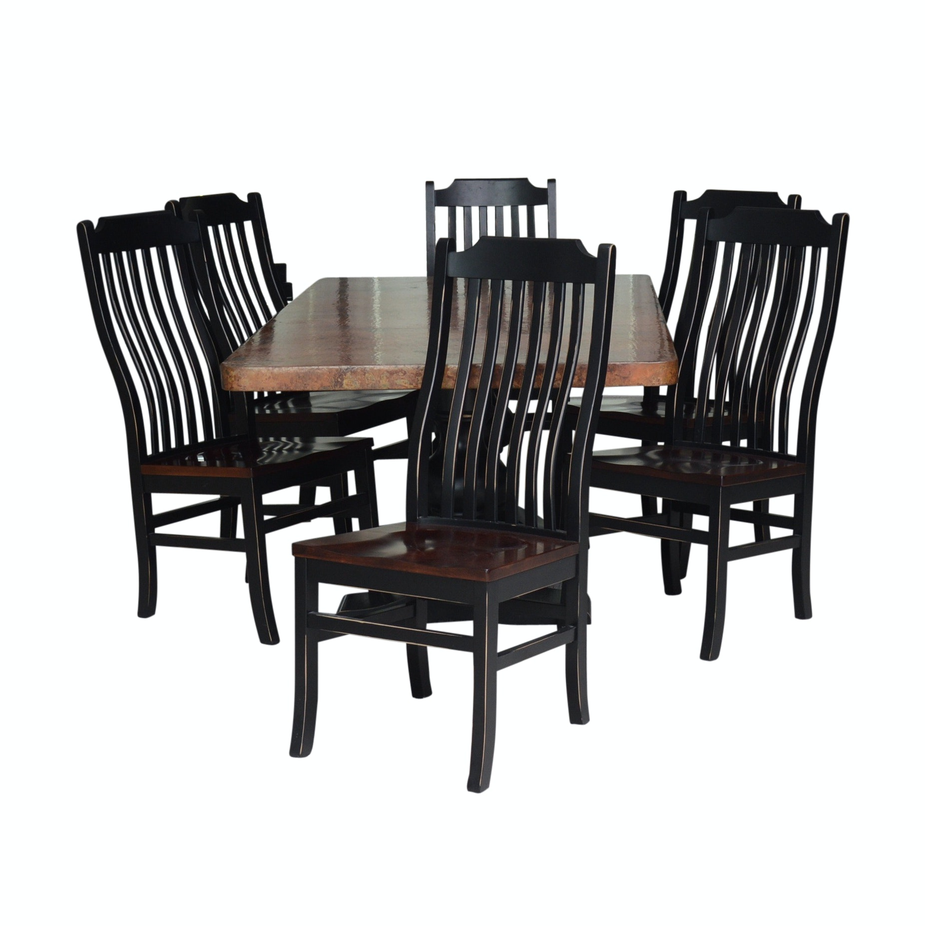 Hammer Copper Wrapped Dining Table and Chairs