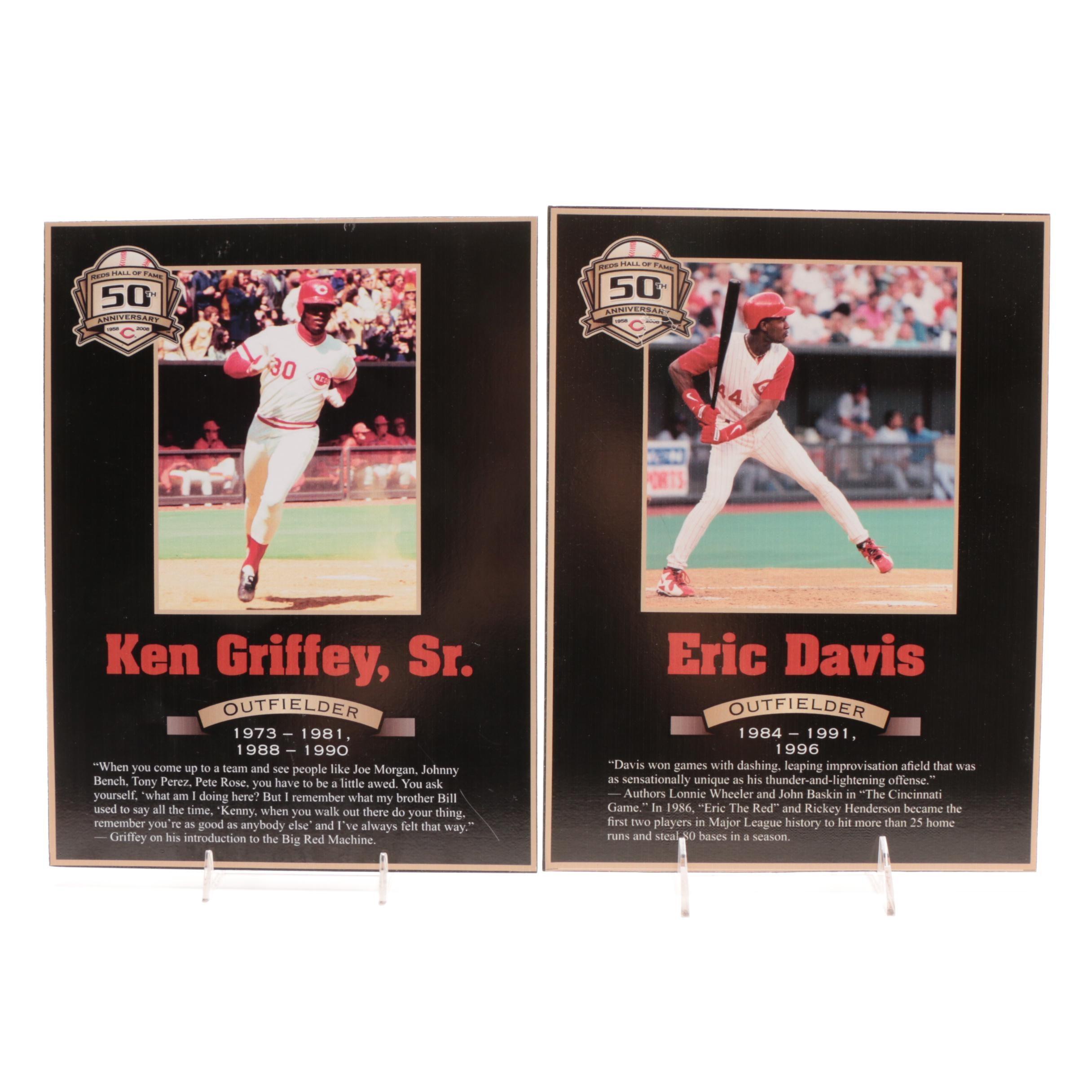 Eric Davis and Ken Griffey Sr. Cincinnati Reds Hall of Fame Photo Plaques COA