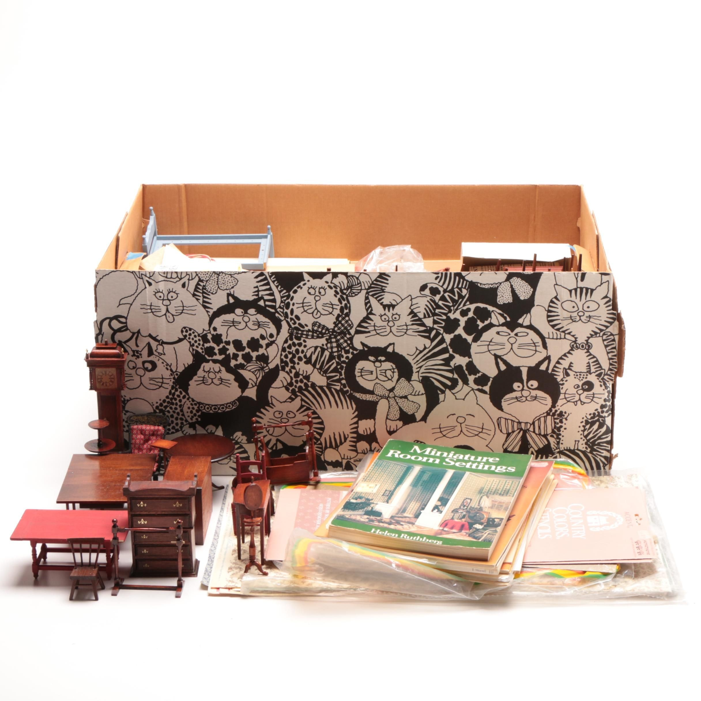 Large Grouping of Dollhouse Furnishings-Books-Accessories