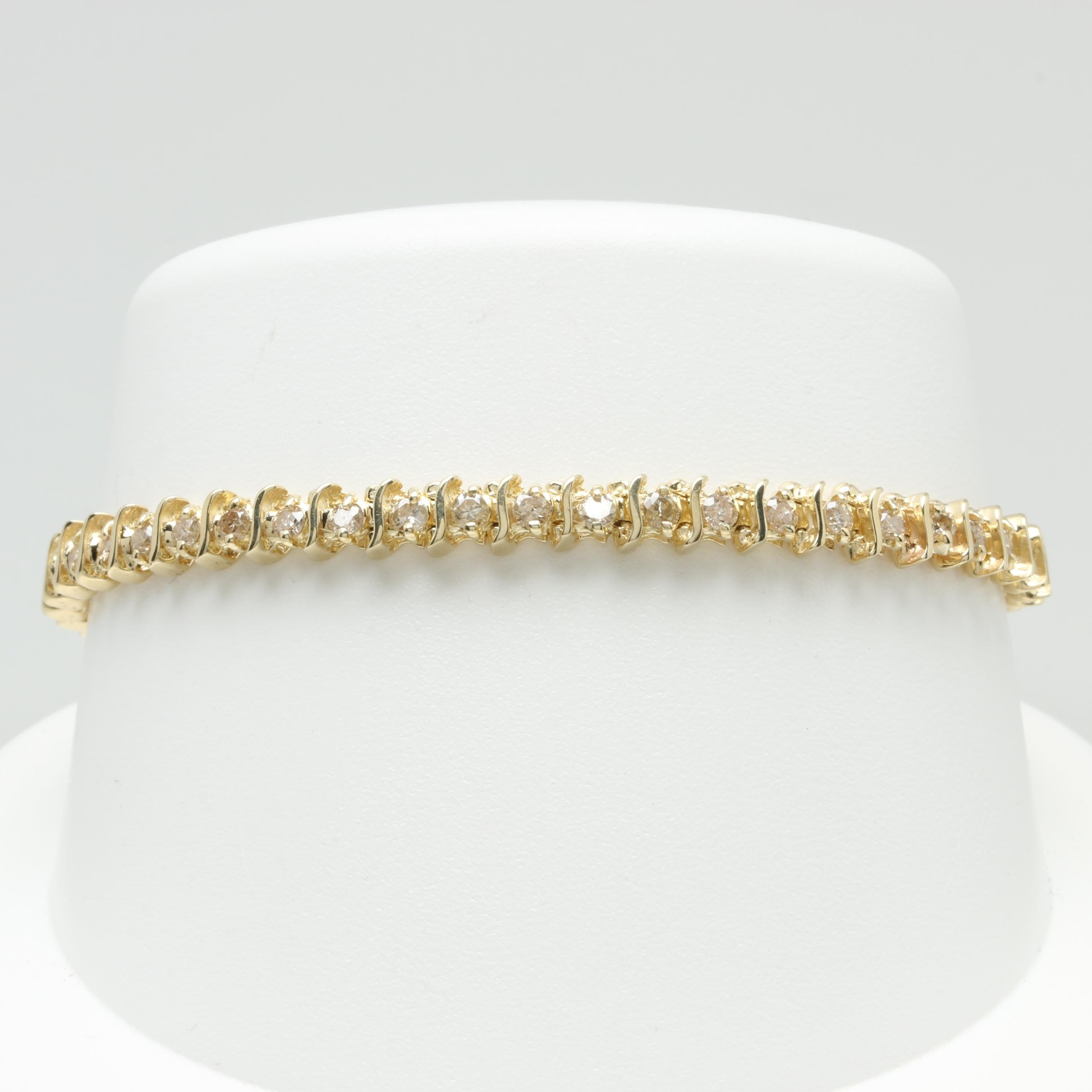 14K Yellow Gold Diamond 1.96 CTW Bracelet
