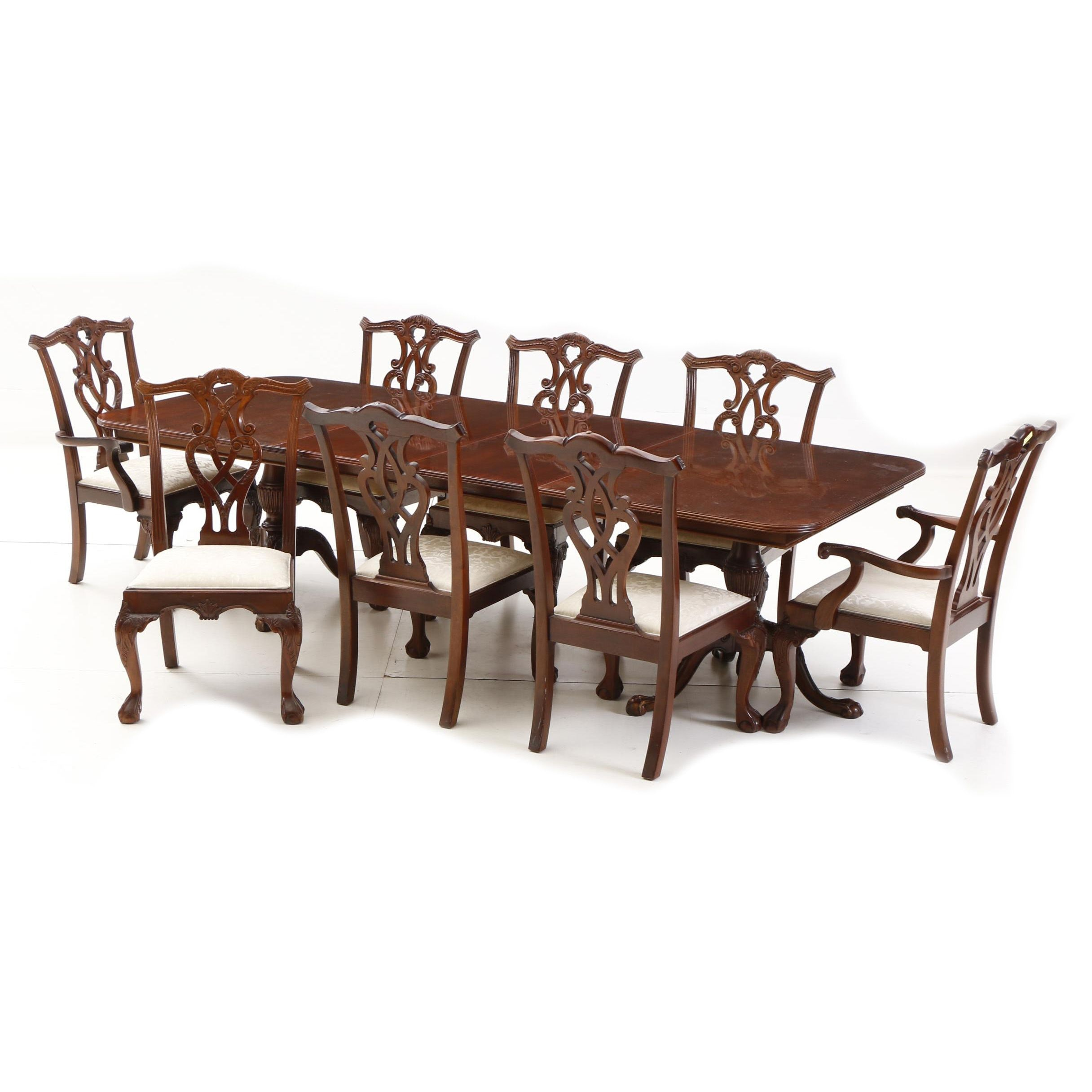 Mahogany Dinning Table and Chippendale Style Chairs by Stanley Furniture