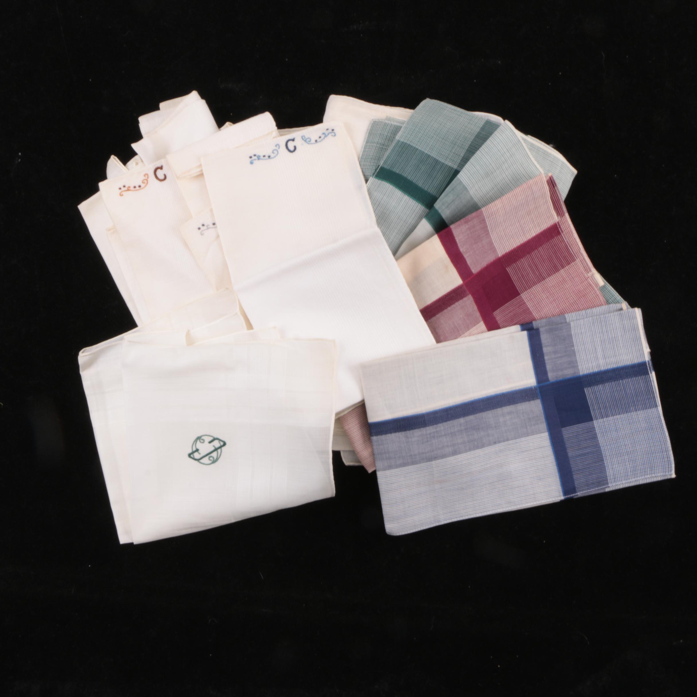 """Vintage """"C"""" and """"M"""" Single Letter Monogram Handkerchiefs"""
