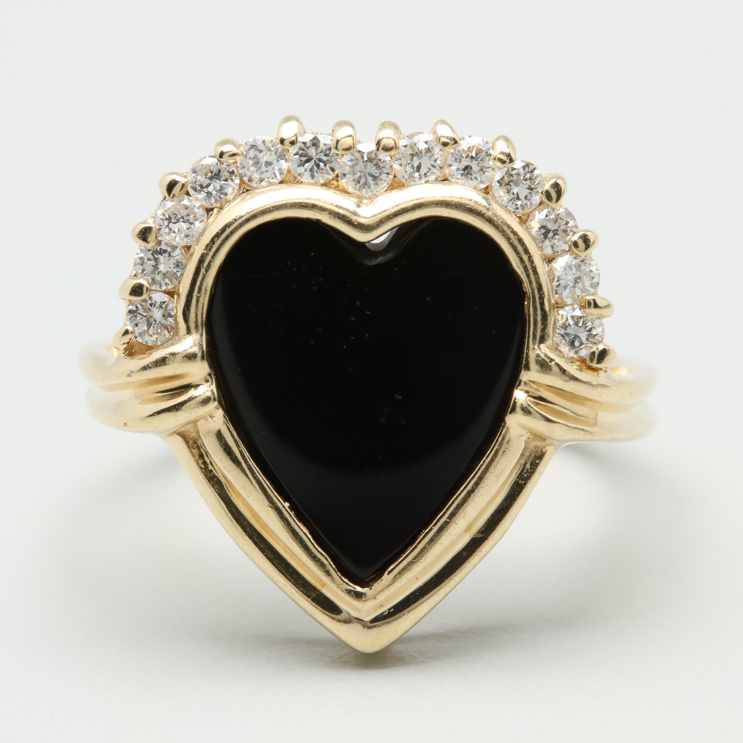 14K Yellow Gold Black Onyx and Diamond Heart Ring