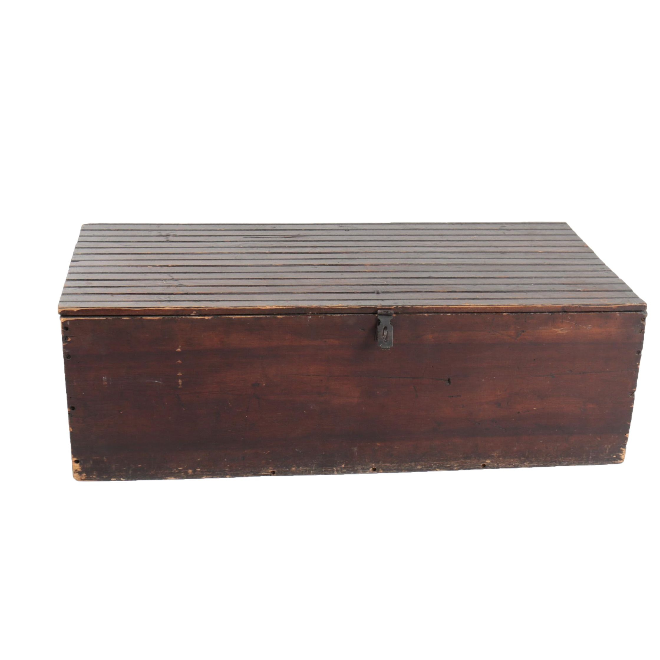 Antique Wooden Beadboard Trunk