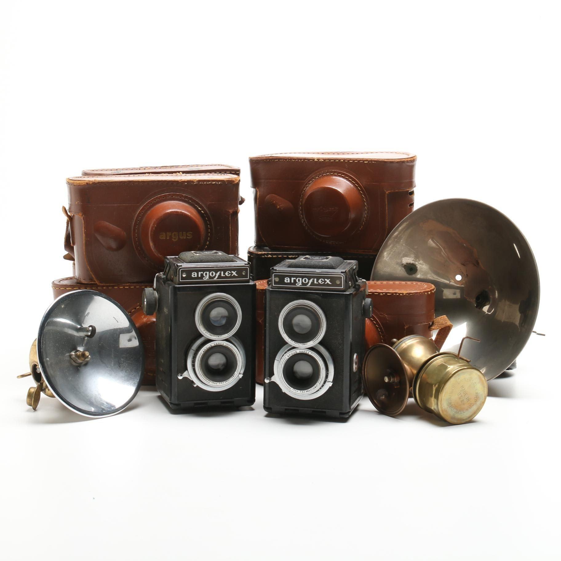 Collection of Vintage Argus C3 and Argoflex Cameras