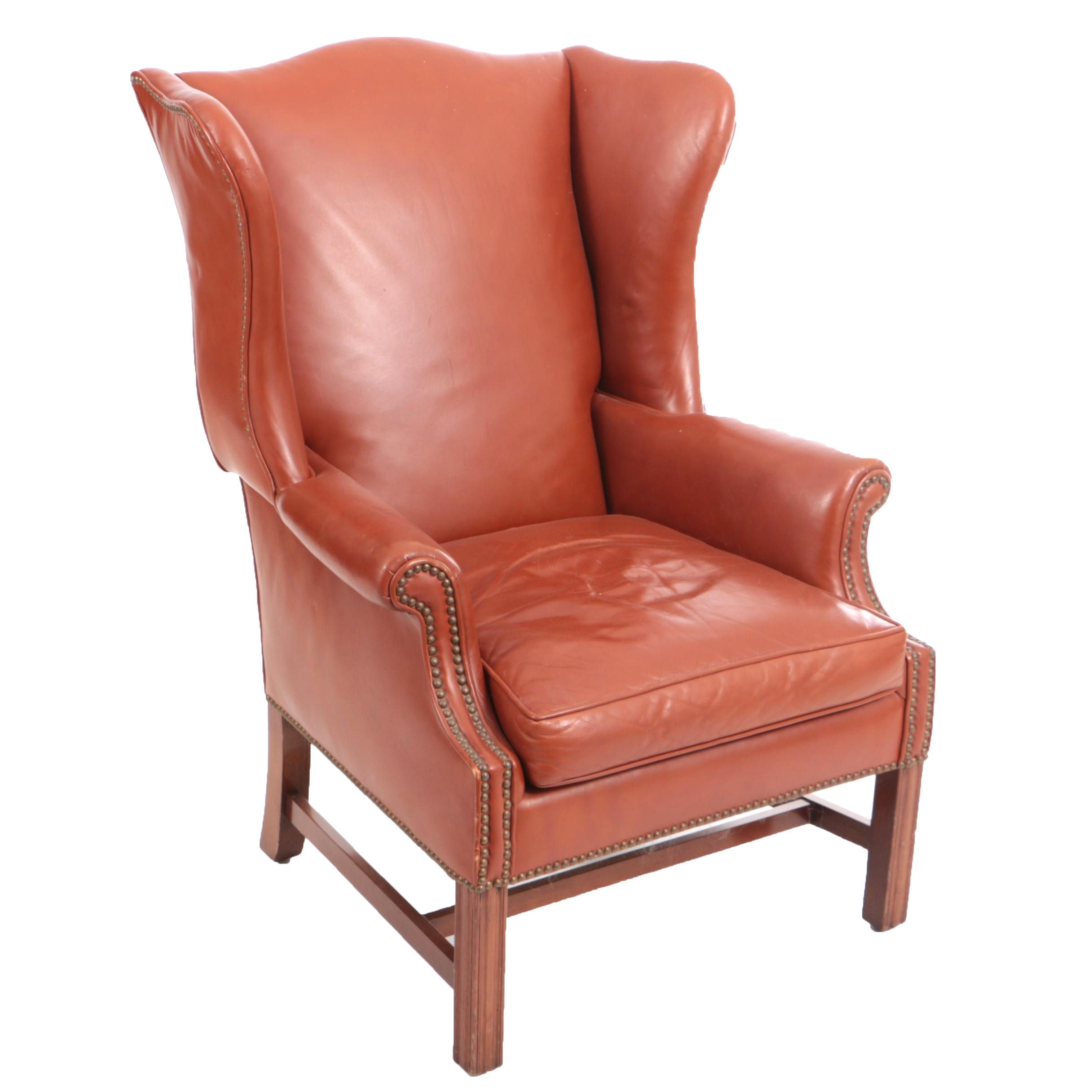 Burnt Orange Leather Wingback Armchair