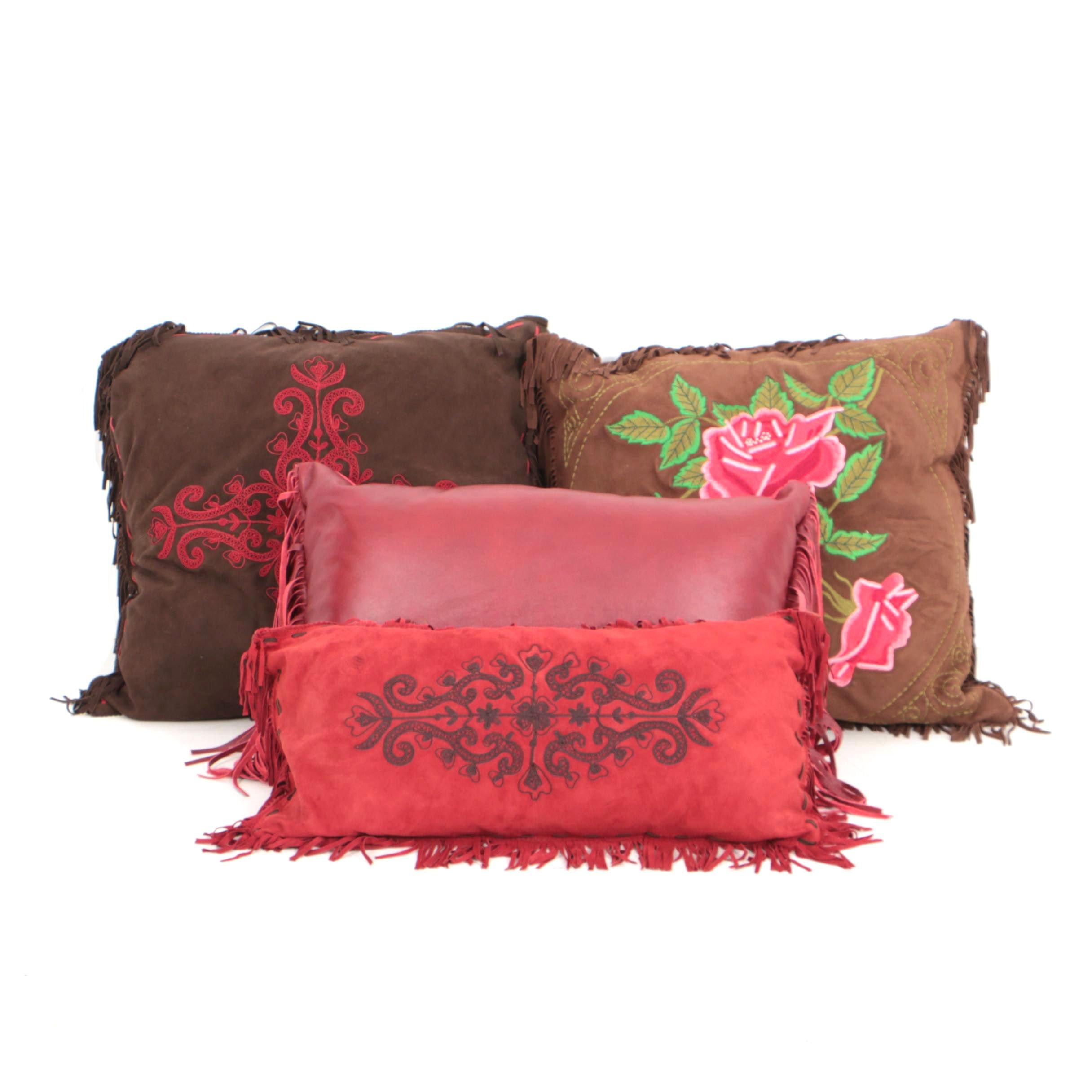 Tasha Polizzi Leather Embroidered Throw Pillows