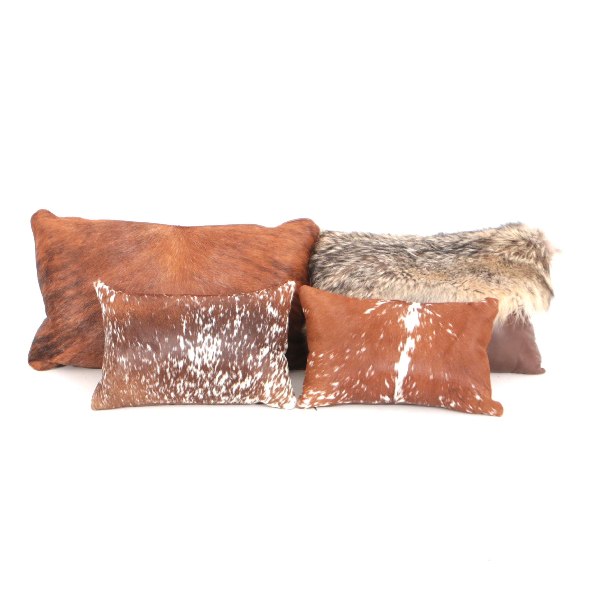 Four Calf Hair Leather and Coyote Fur Throw Pillows