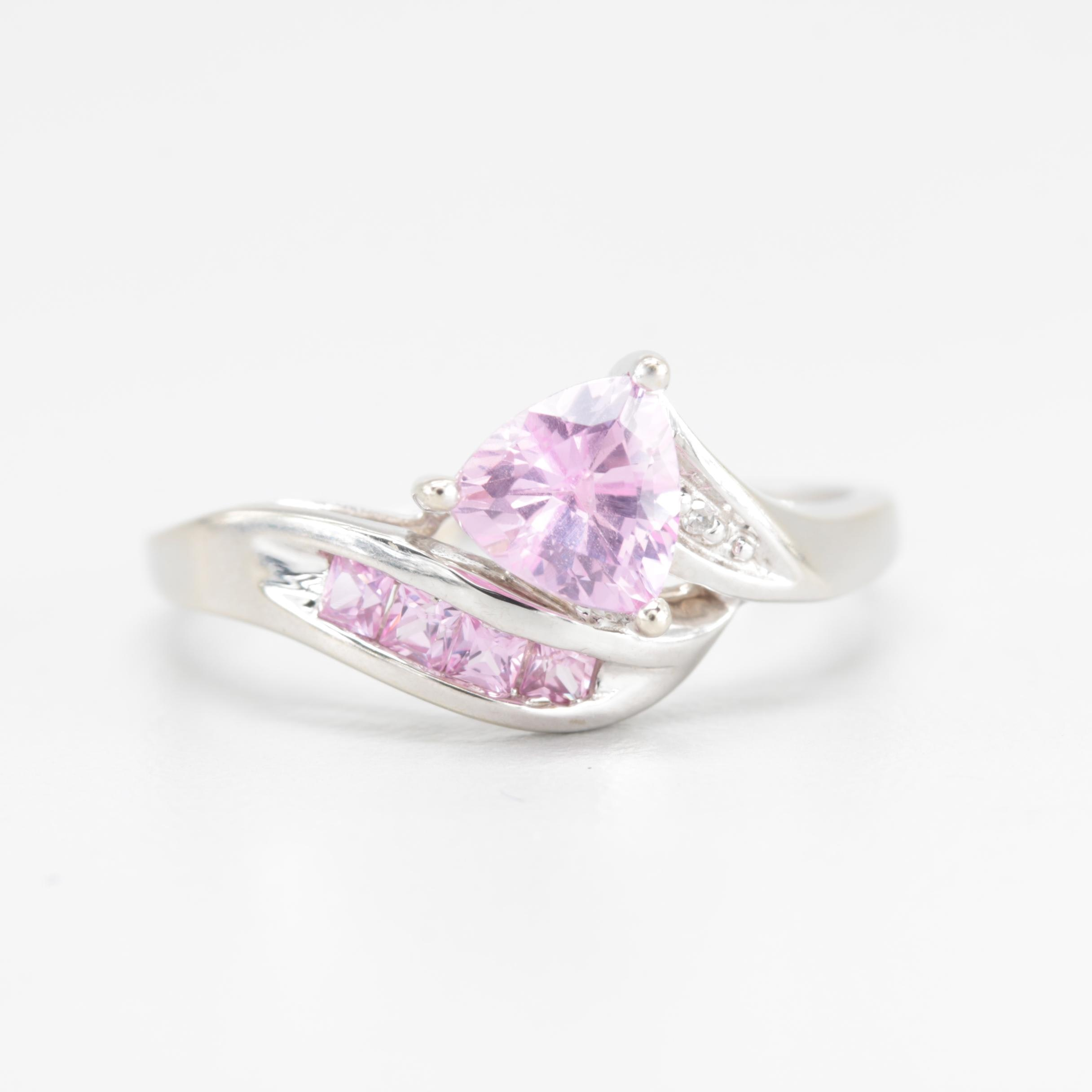 10K White Gold Synthetic Pink Sapphire and Diamond Ring