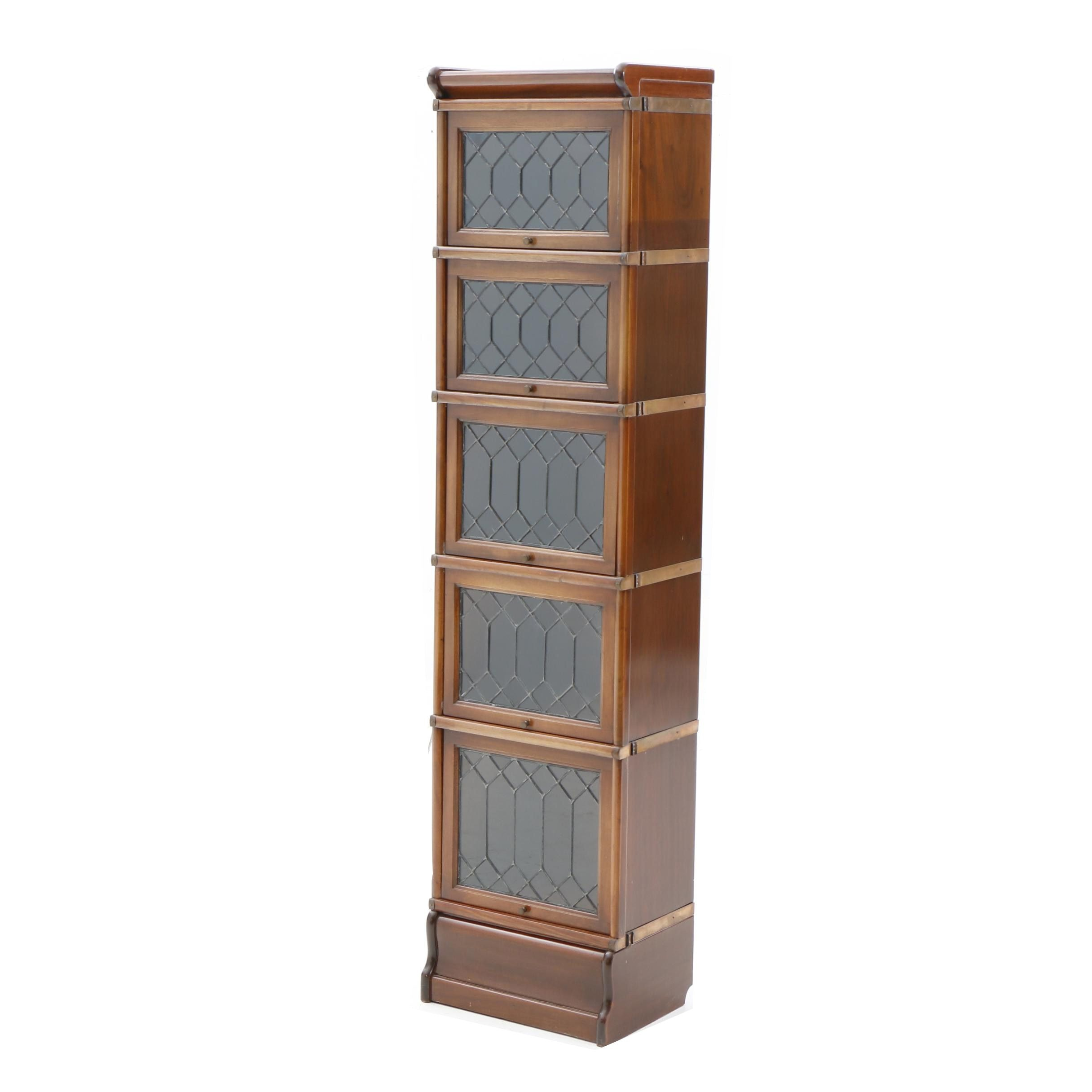 Narrow Mahogany Barrister Bookcase with Leaded Glass