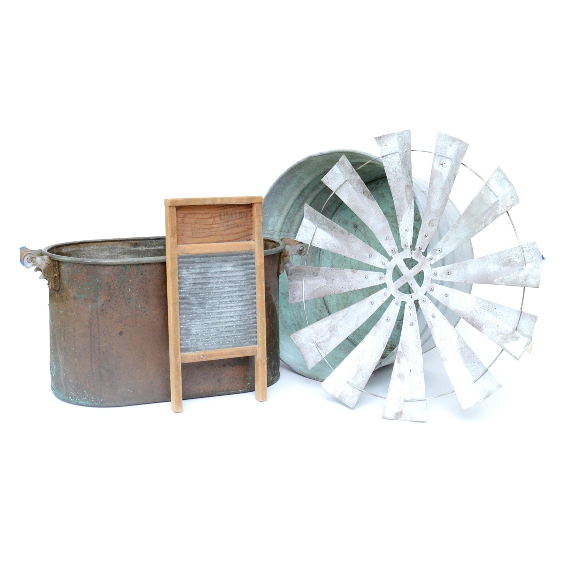 Copper Boiler, Galvanized Tub and More