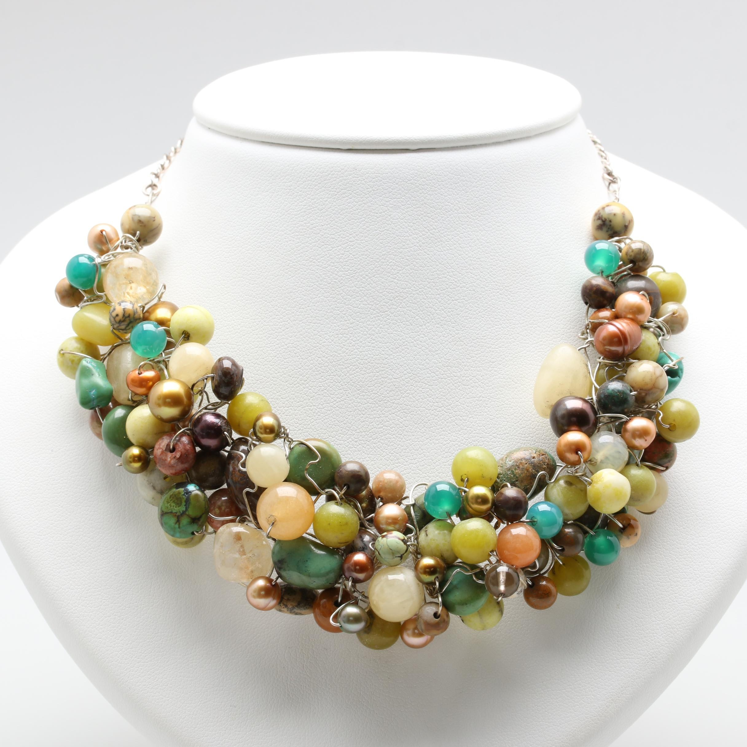 Sterling Silver Cultured Pearl, Agate, and Quartz Necklace