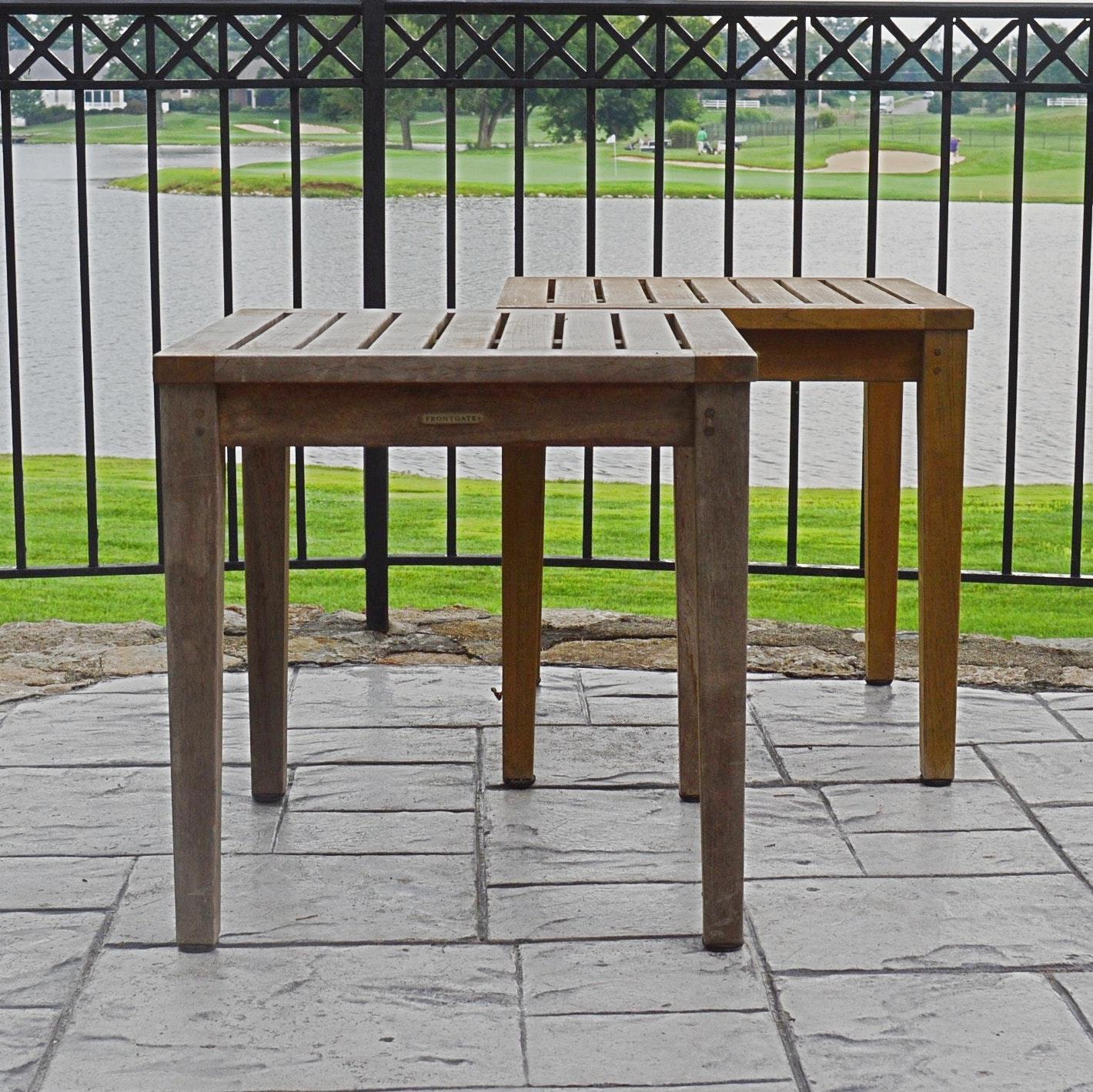 Frontgate Teak Wood Patio End Tables