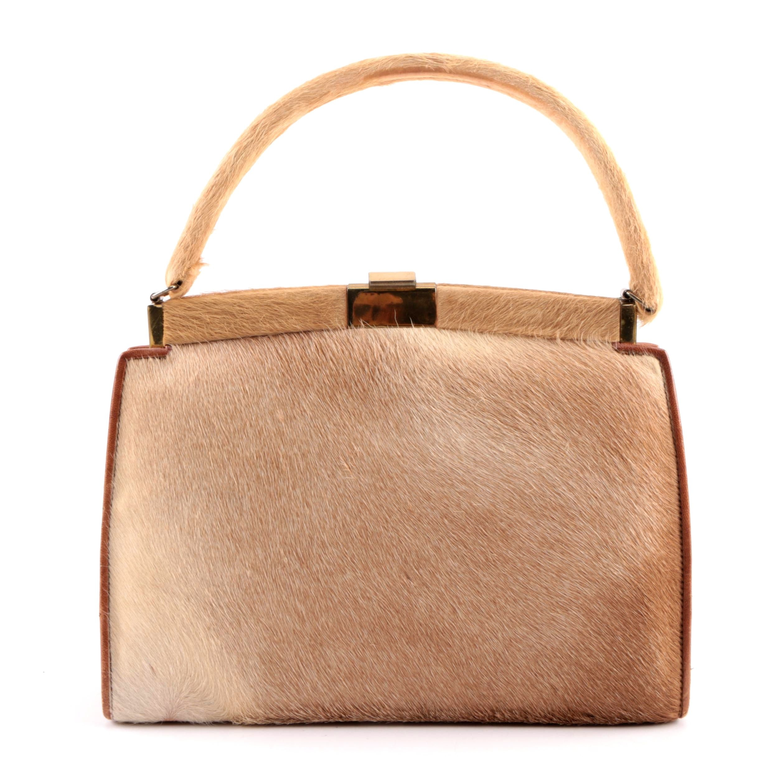 1960s Vintage Cow Hide Handbag