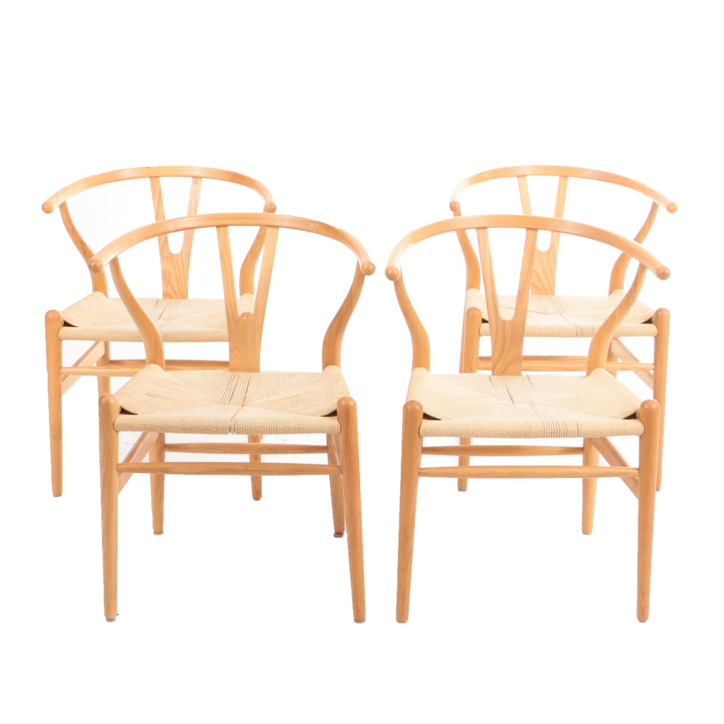 Set of Four Wishbone Dining Chairs in Oak