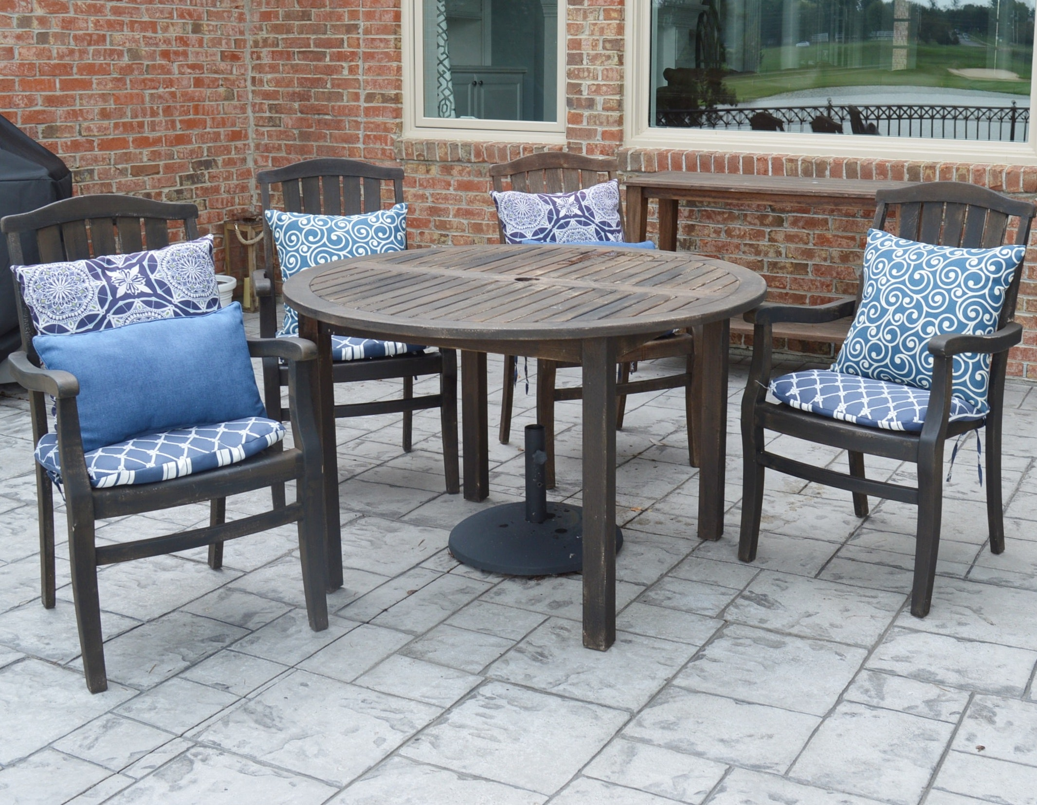 Smith & Hawken Teak Wood Patio Dining Set with Cushions