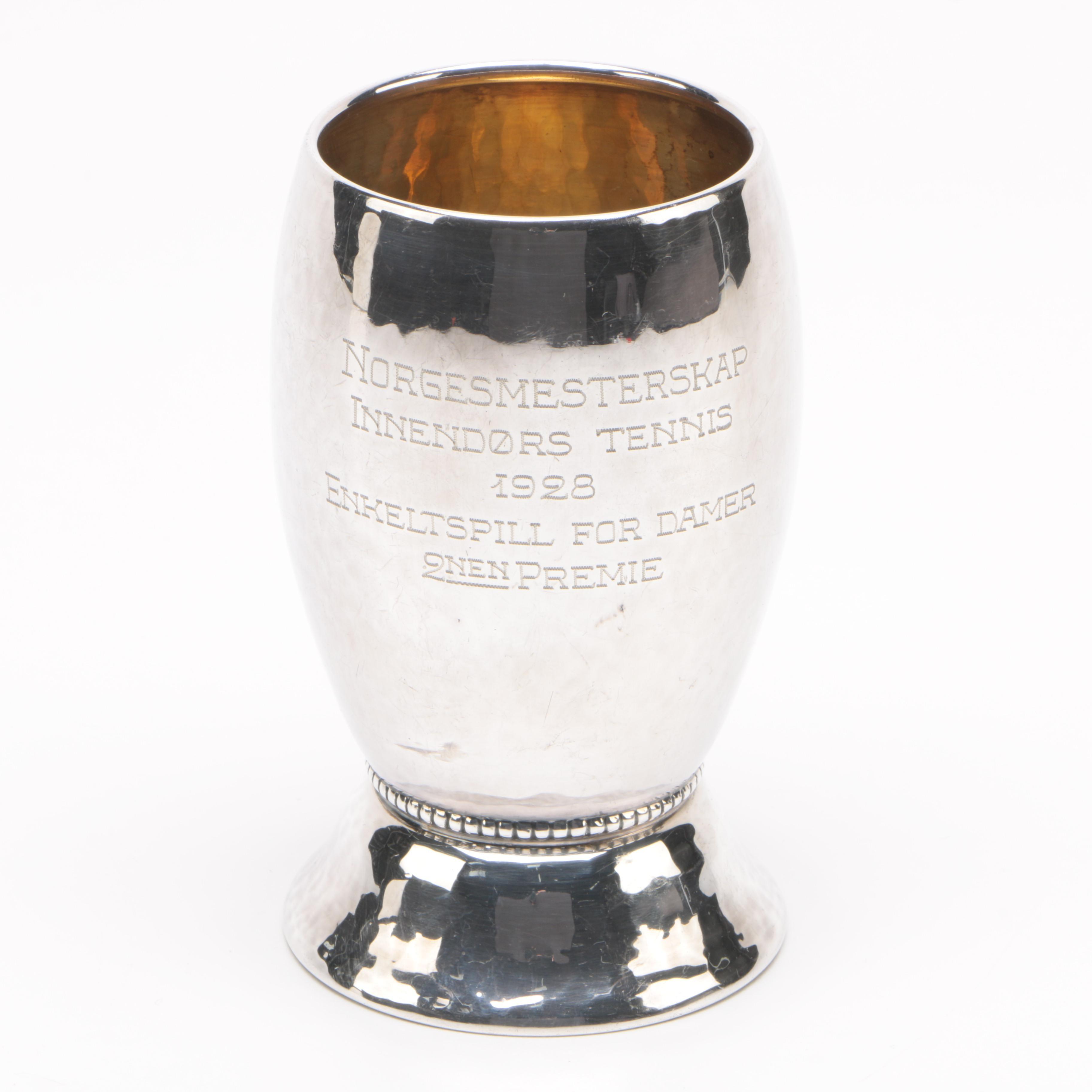 1928 Norwegian 830 Silver Women's Indoor Tennis Trophy Cup
