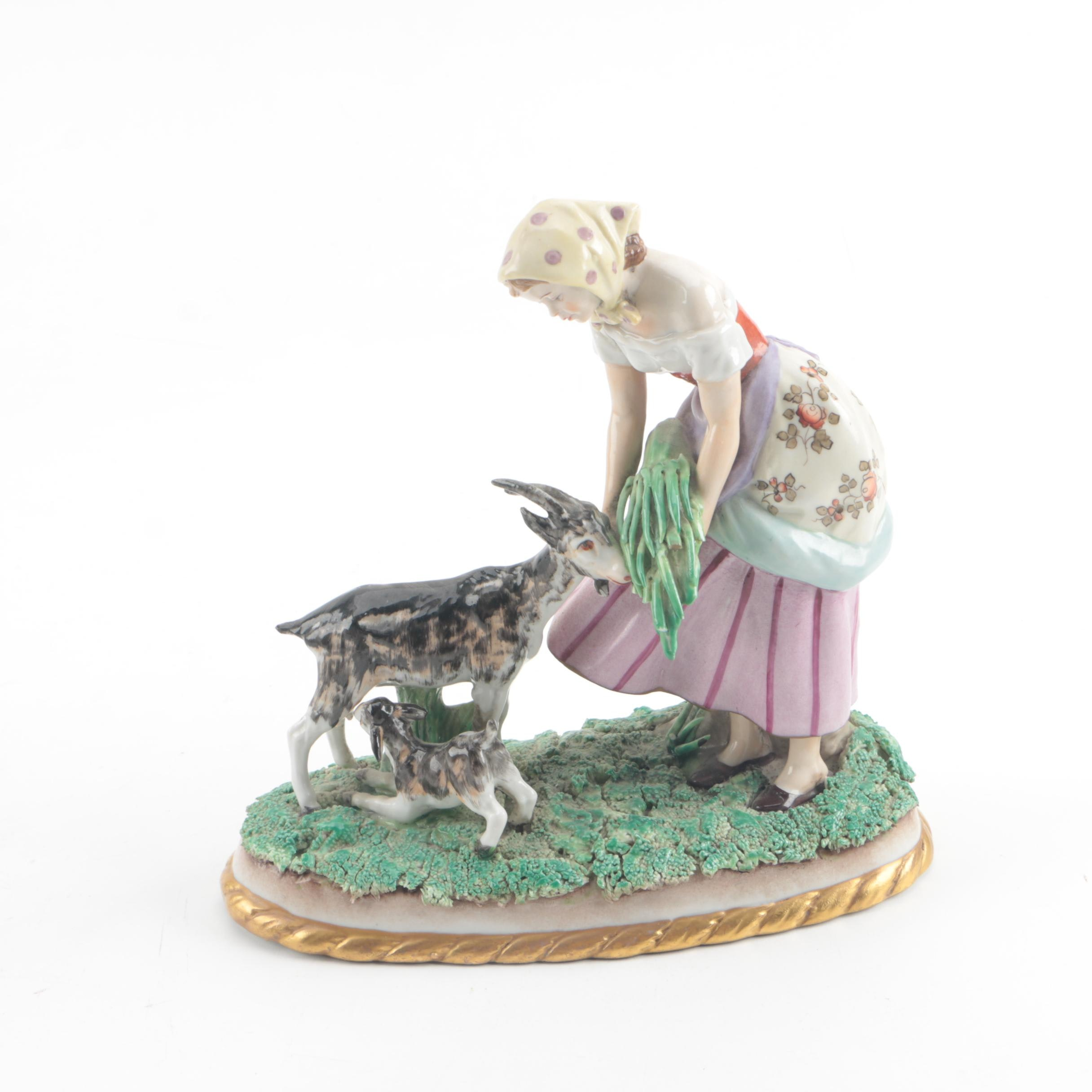Continental Porcelain Figurine of Woman Feeding Goats