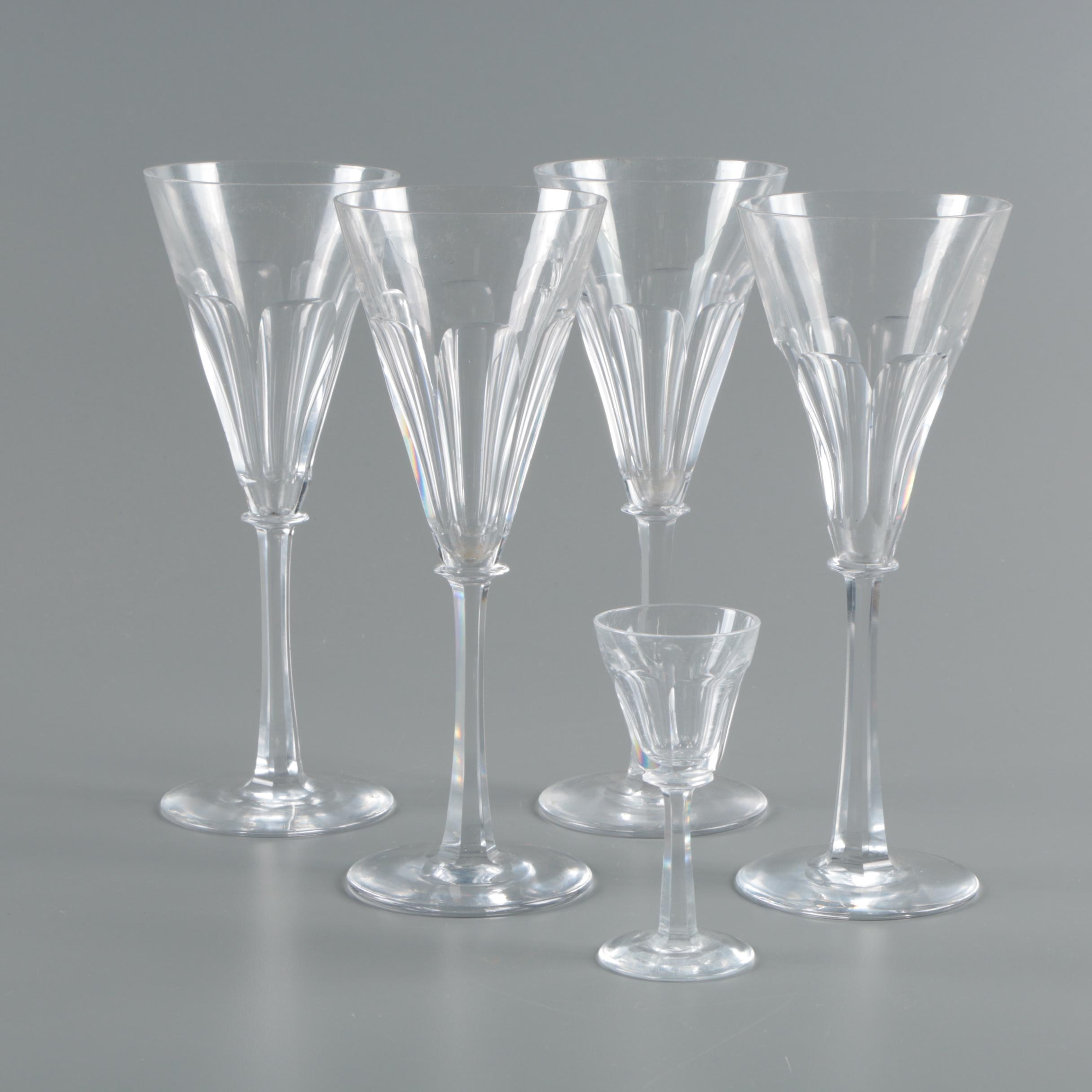 Cut Crystal Wine Glasses and Cordial Glass
