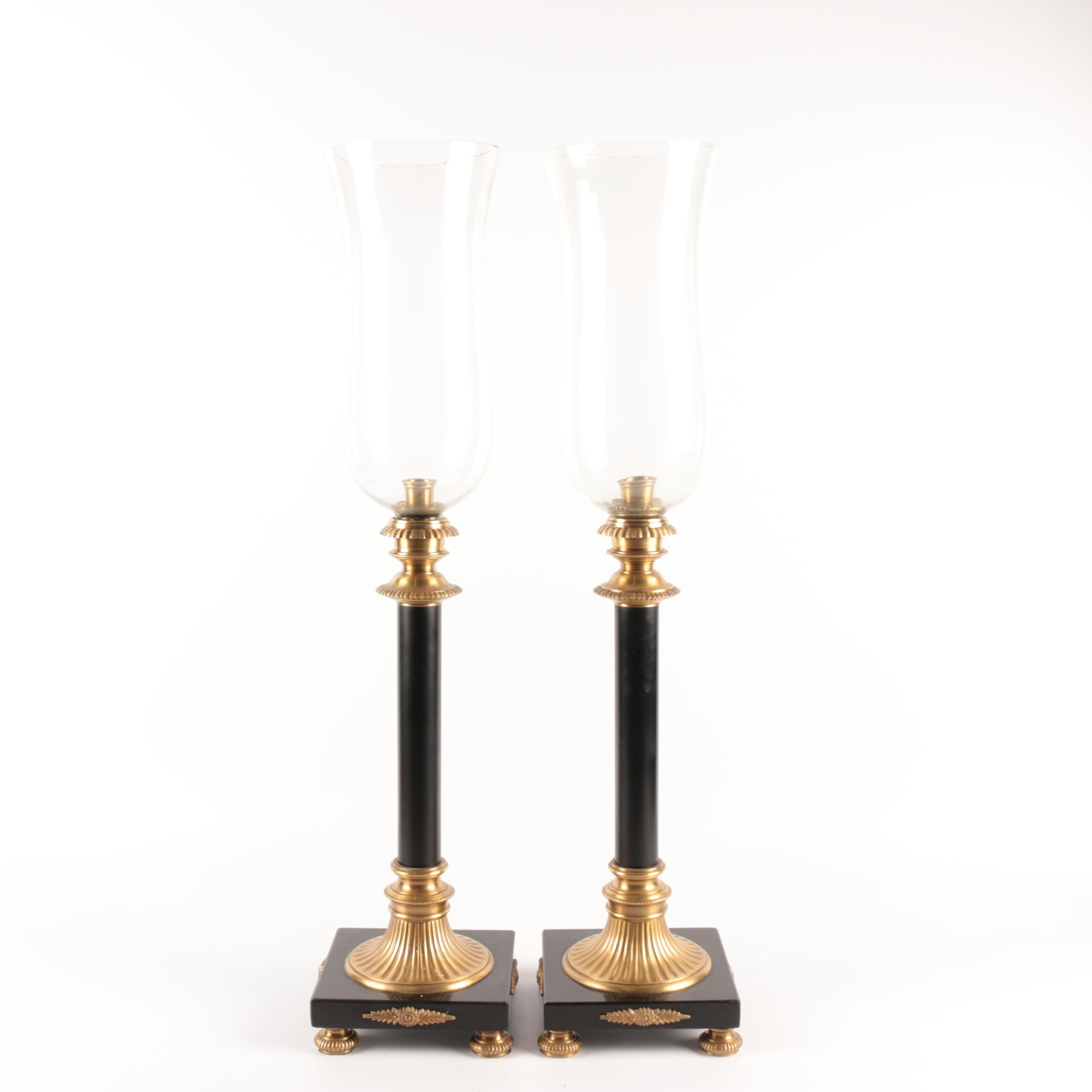 Neoclassical Style Metal and Stone Candlesticks with Glass Hurricane Shades