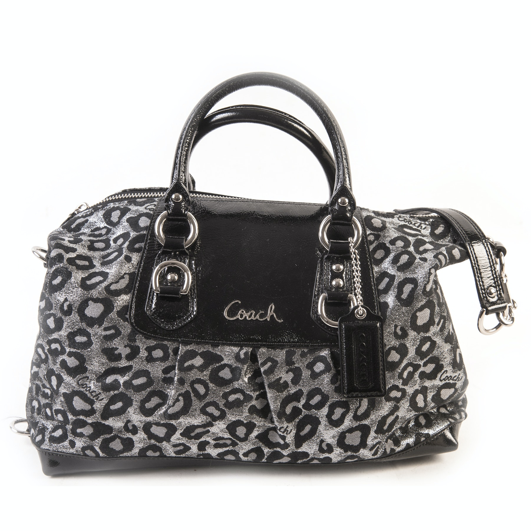 Coach Ashley Ocelot Leopard Print and Black Patent Leather Satchel