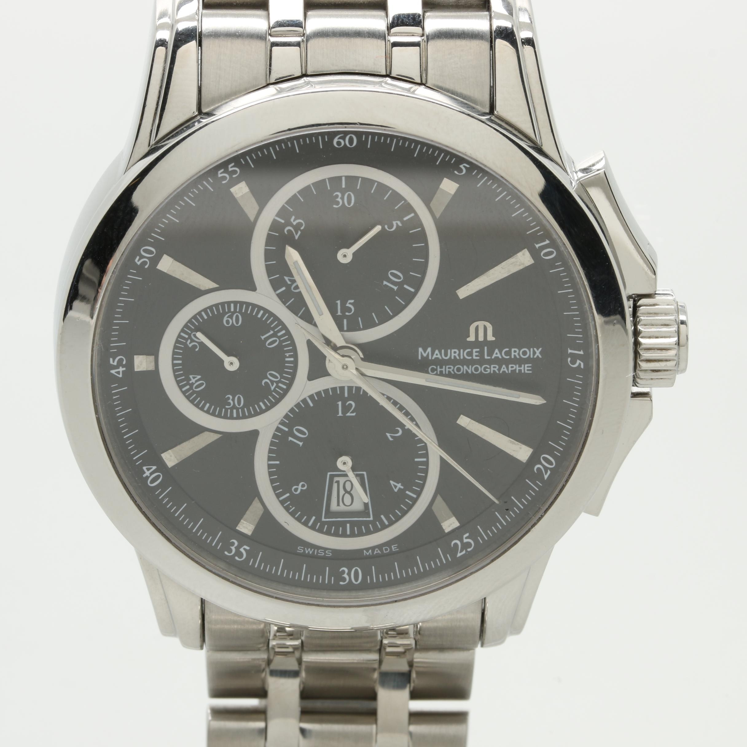 Maurice Lacroix Stainless Steel Chronograph Wristwatch