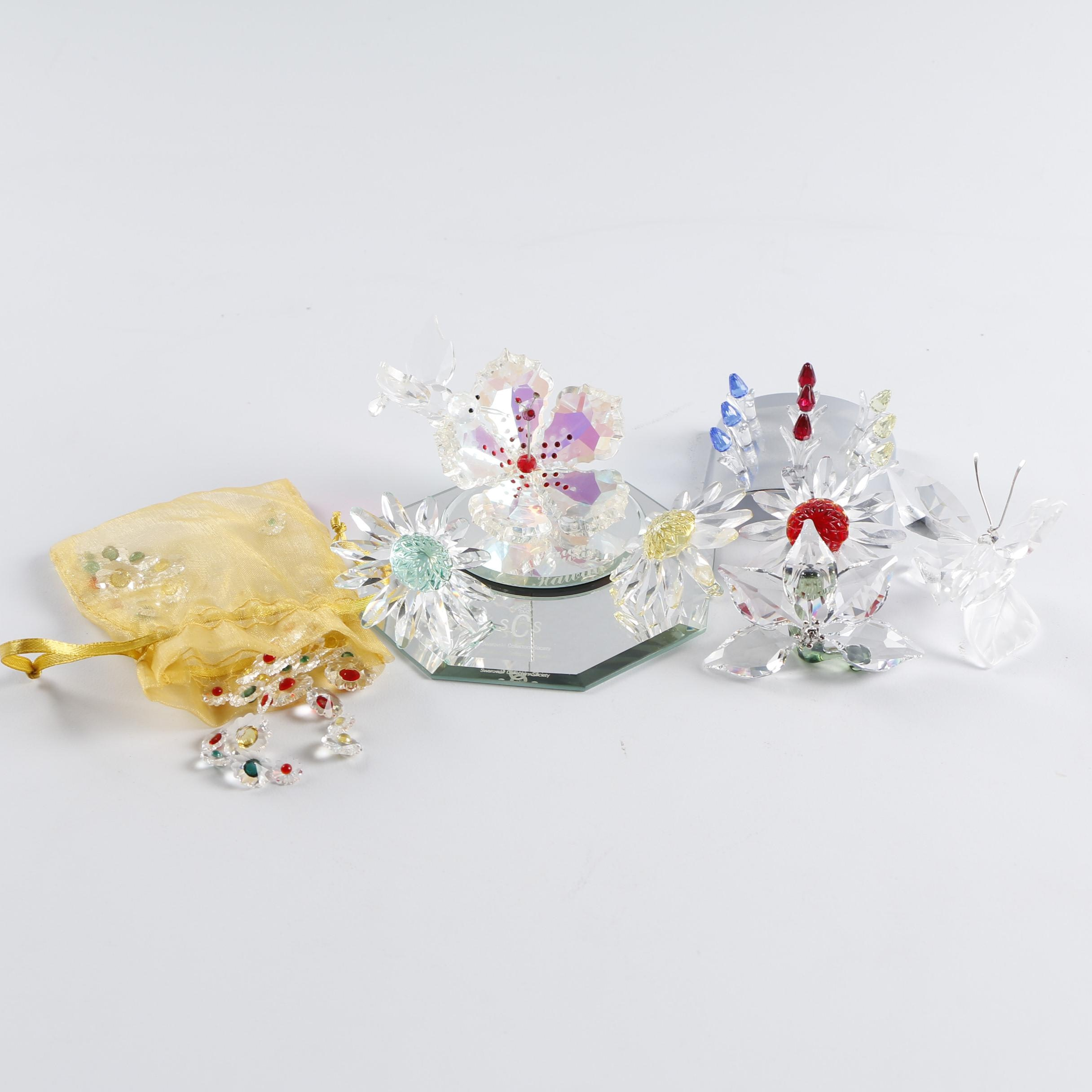 Swarovski Crystal Flowers, Butterfly, and Hummingbird Figurines with Displays
