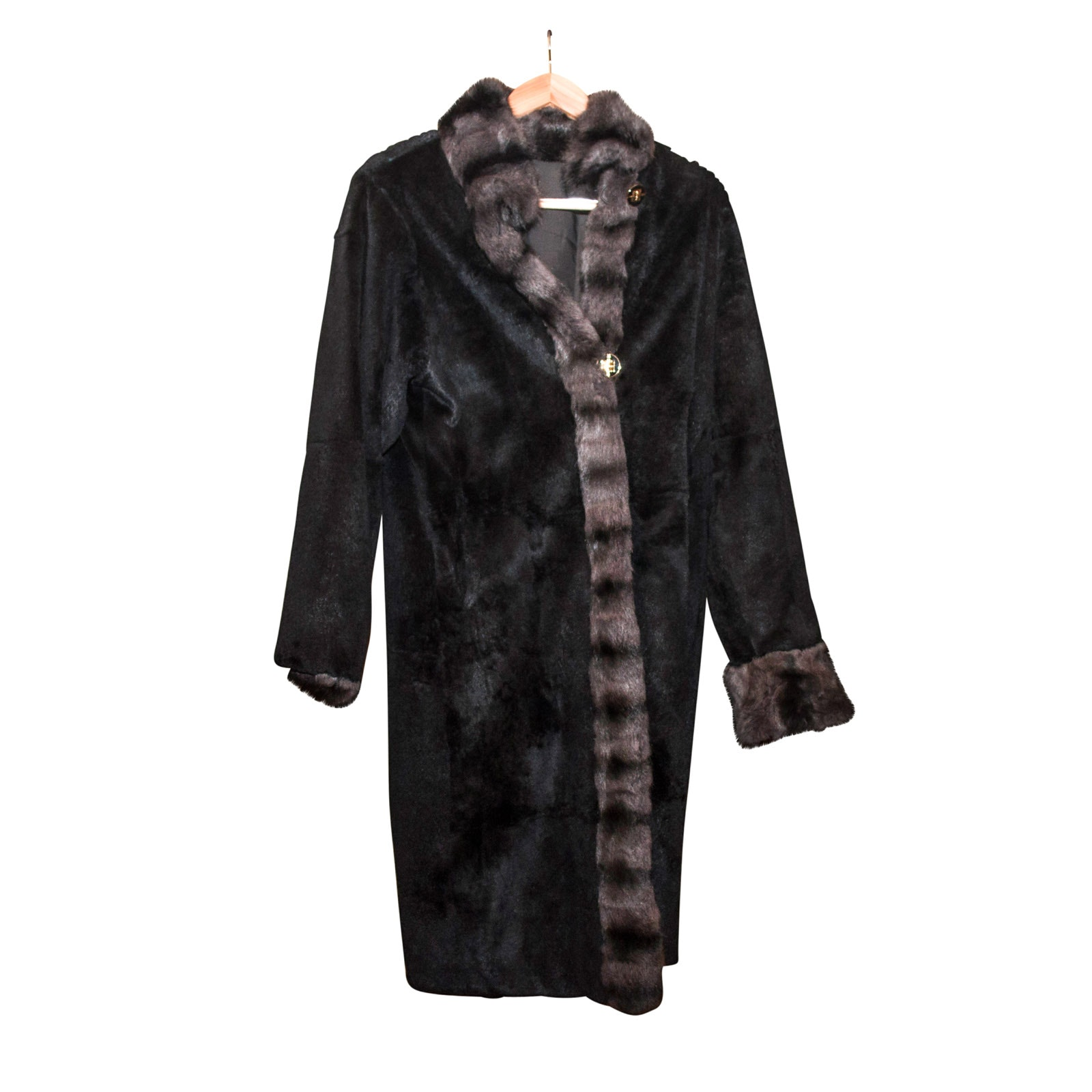 St. John Black Sheared Rabbit Reversible Coat