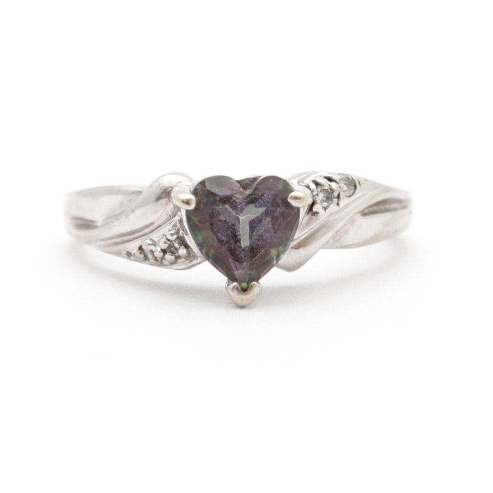 10K White Gold Synthetic Mystic Topaz Diamond Ring