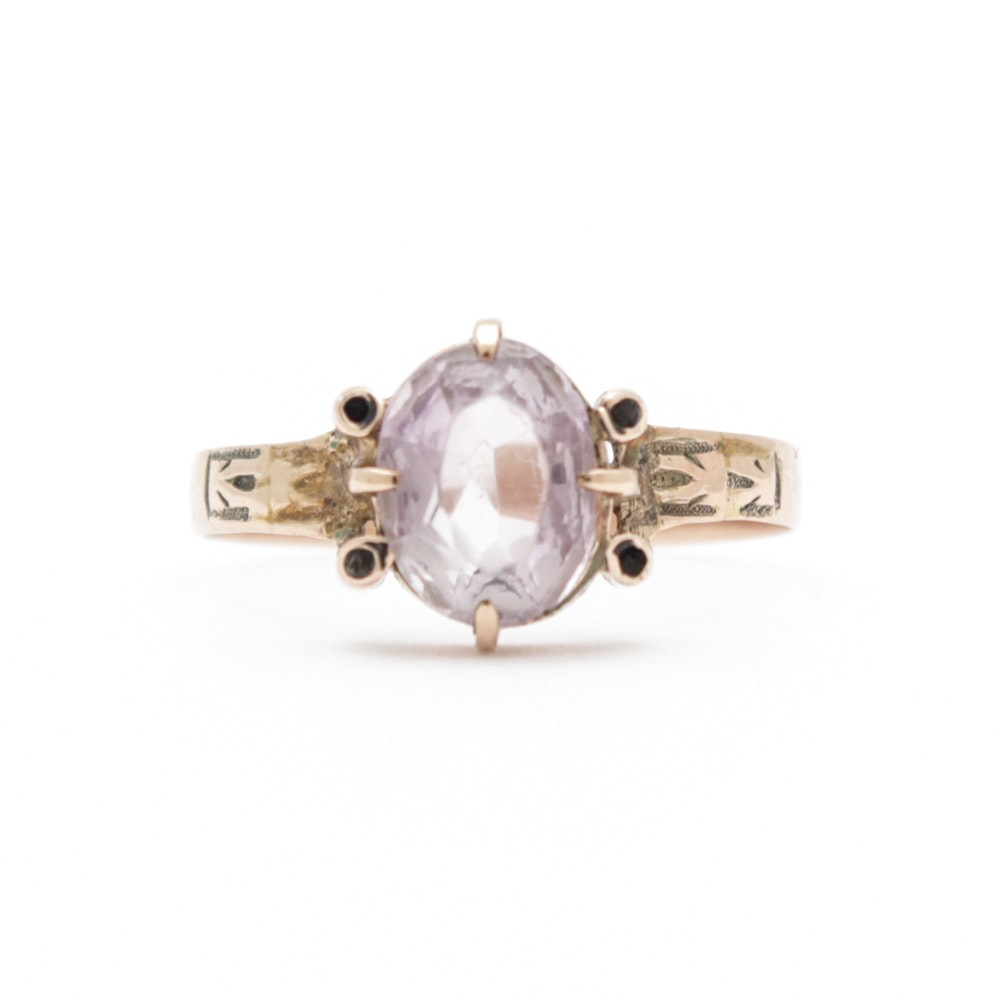 Victorian 10K Yellow Gold Amethyst Ring