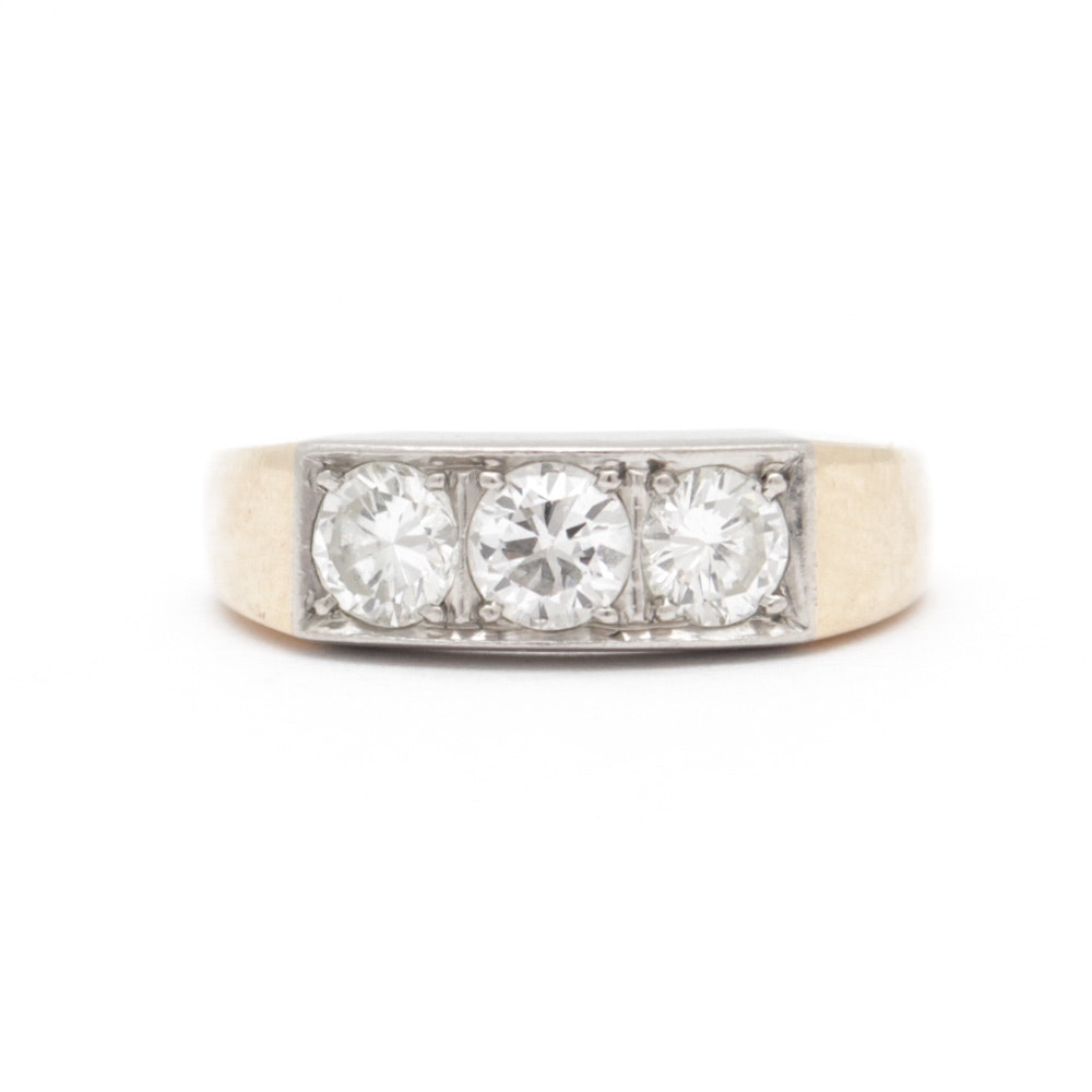 14K Yellow and White Gold 0.90 CTW Diamond Ring
