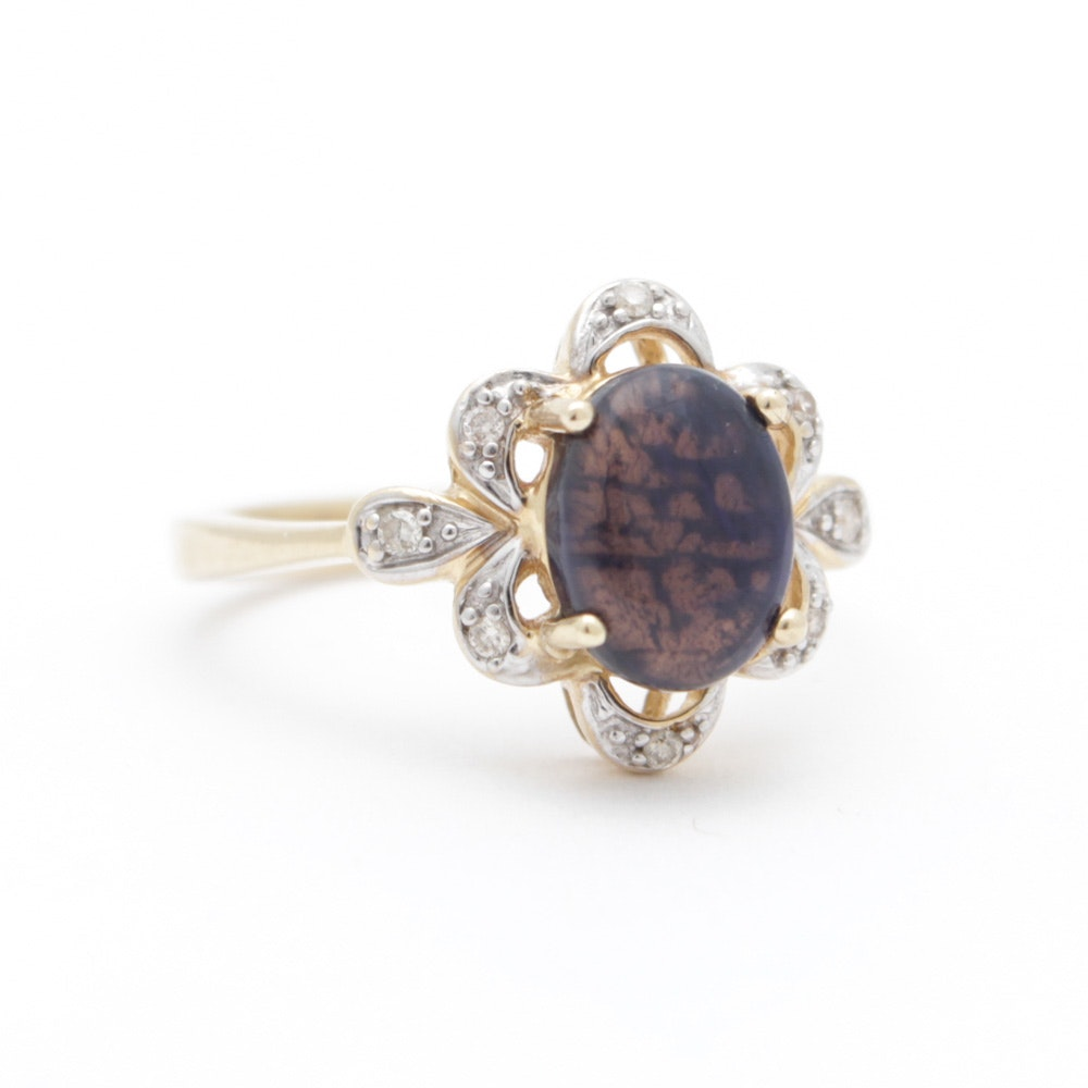 14K Yellow Gold Labradorite Diamond Ring