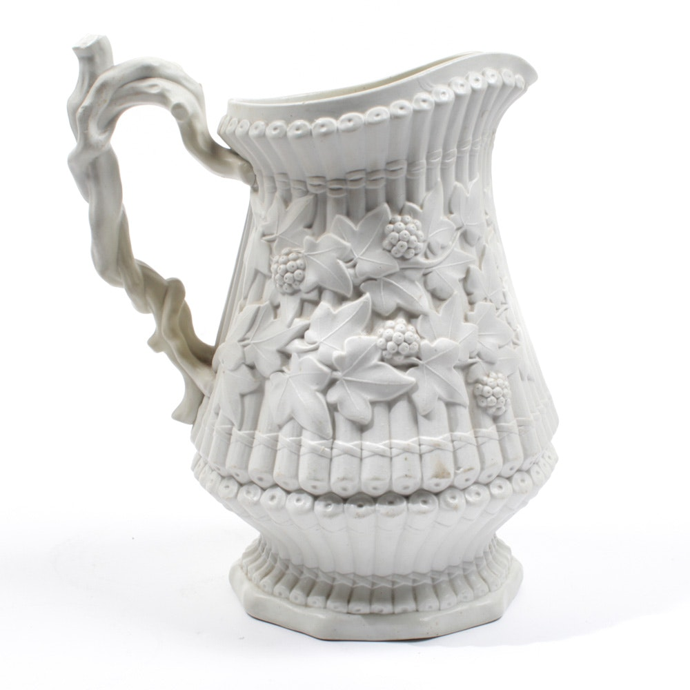 "Antique Parian E.J. Ridgway & Abington ""Sylvan"" Pitcher"
