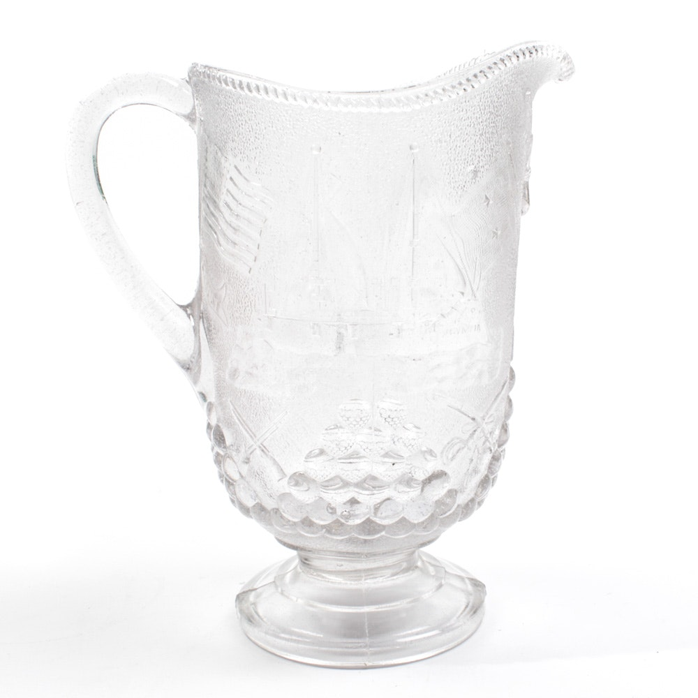 Antique Spanish-American War Commemorative Beatty-Bradley Glass Pitcher