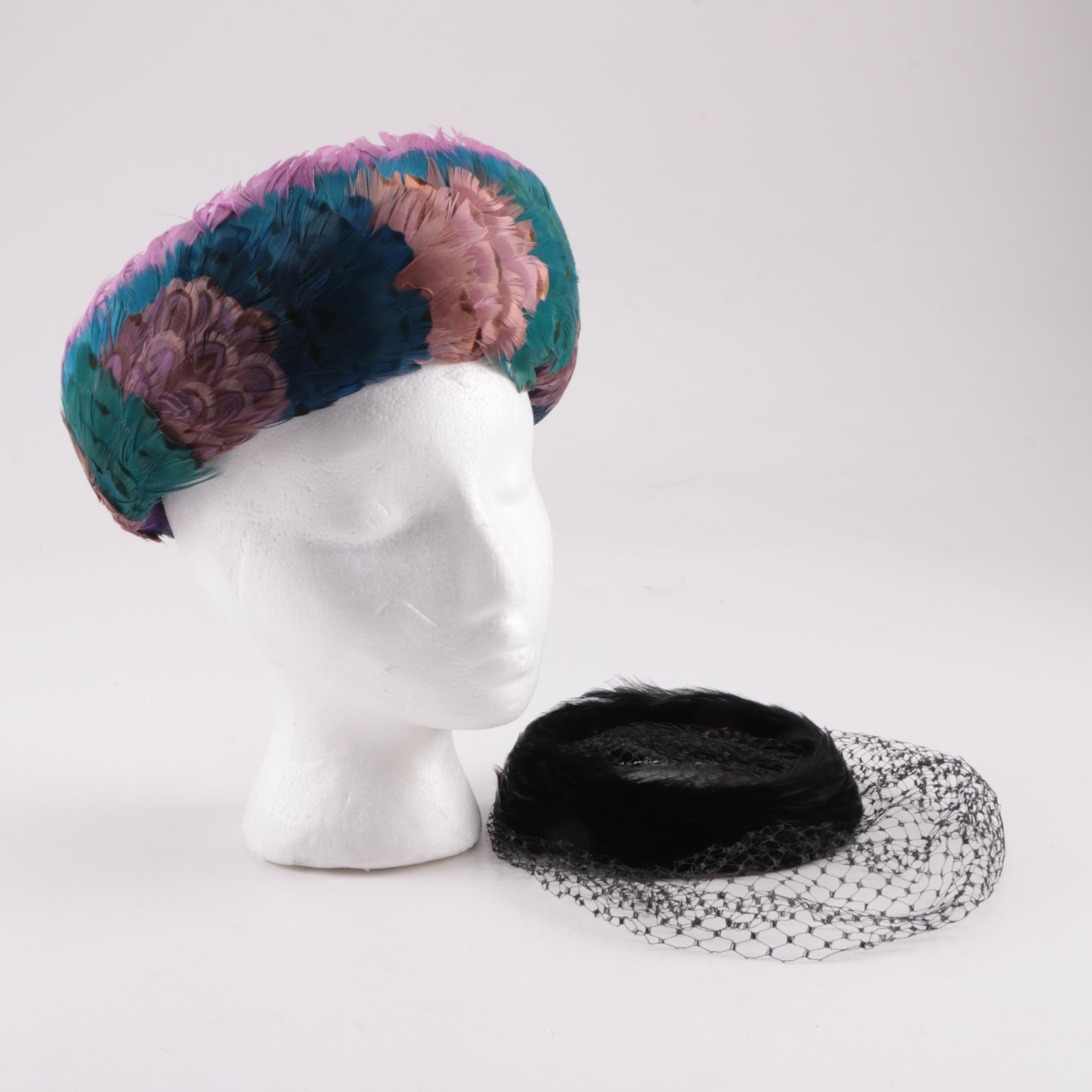 Cecile Original Feathered Breton Hat with Black Velvet and Feathered Fascinator