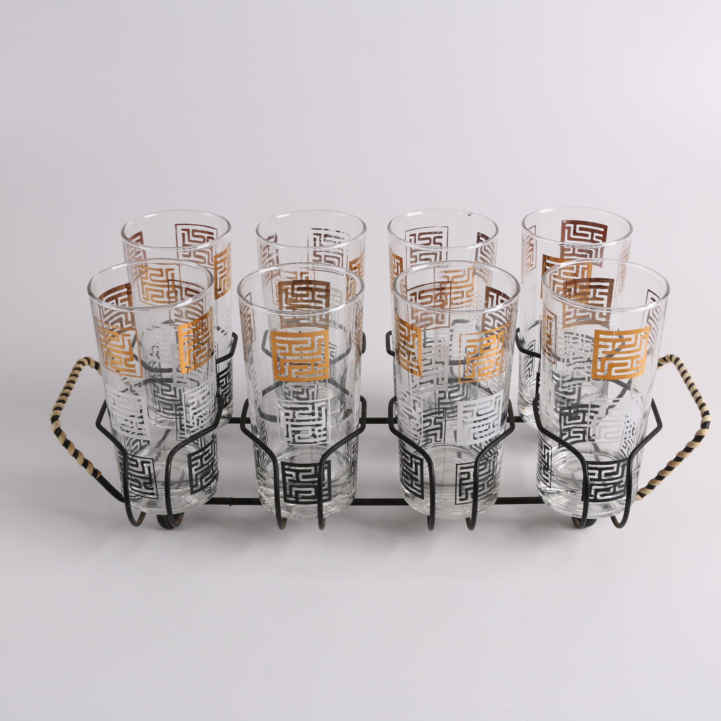 Mid-Century Style Glass Tumbler Set in Metal Caddy