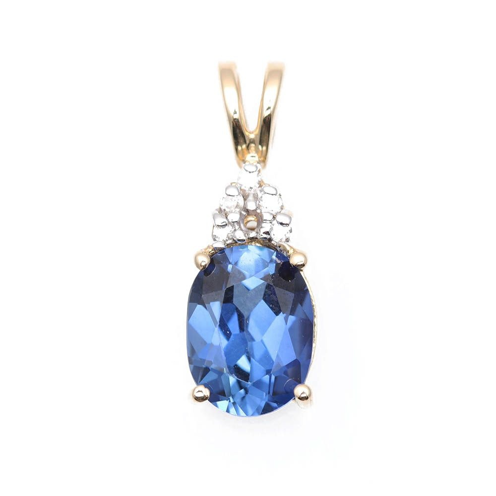 14K Yellow Gold Synthetic Sapphire and Diamond Pendant