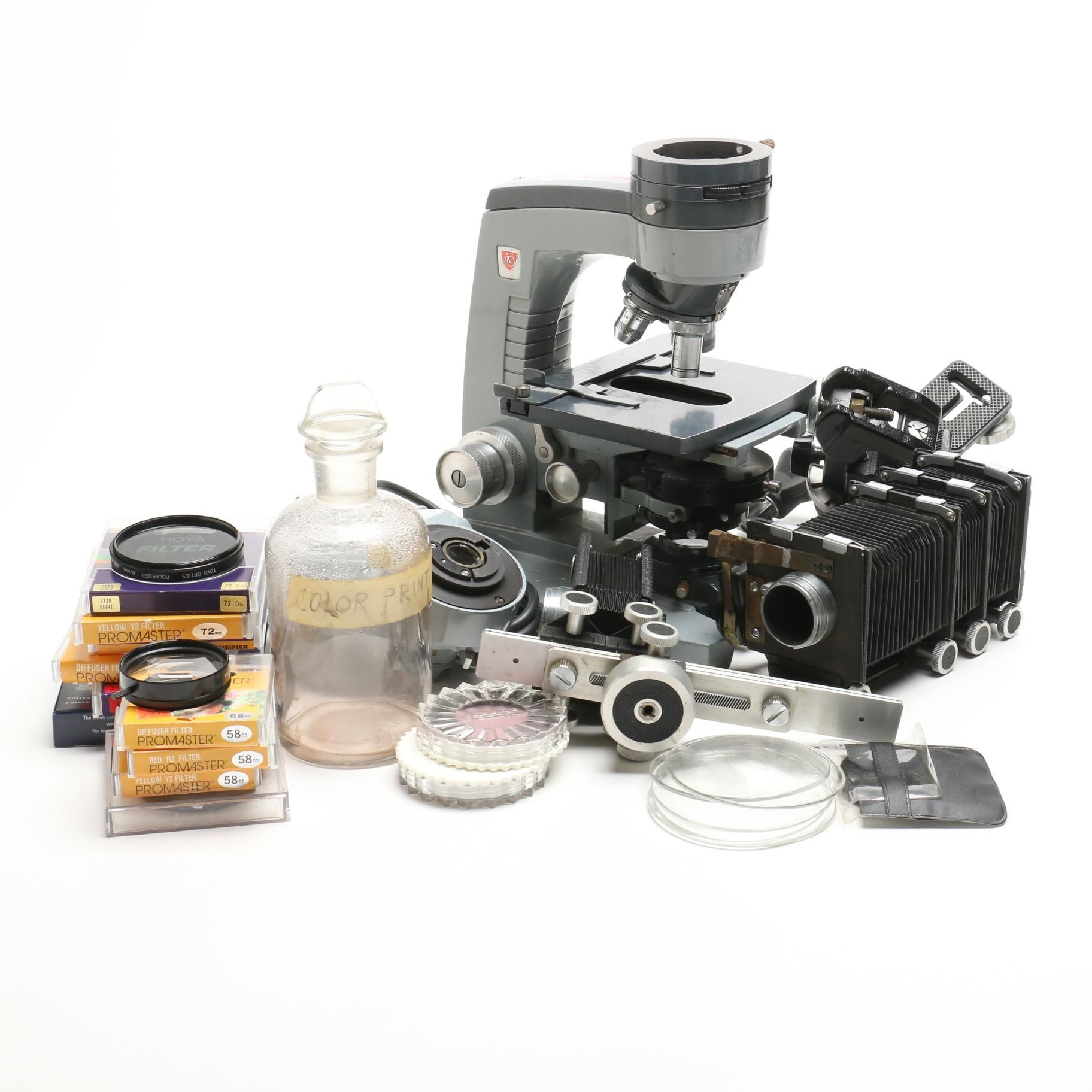 Collection of Photography Lab and Equipment and Spencer Microscope