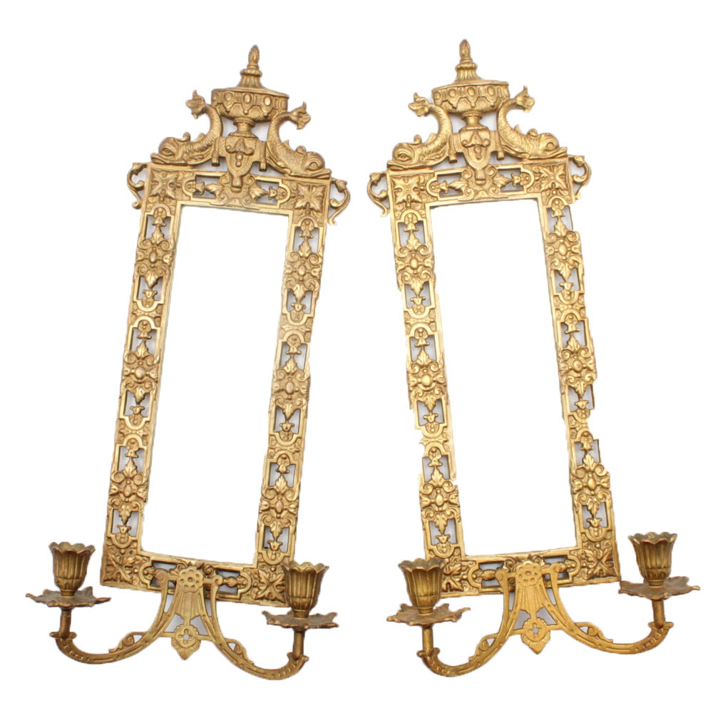 Early 20th Century Baroque Style Cast Brass Mirrored Wall Sconces