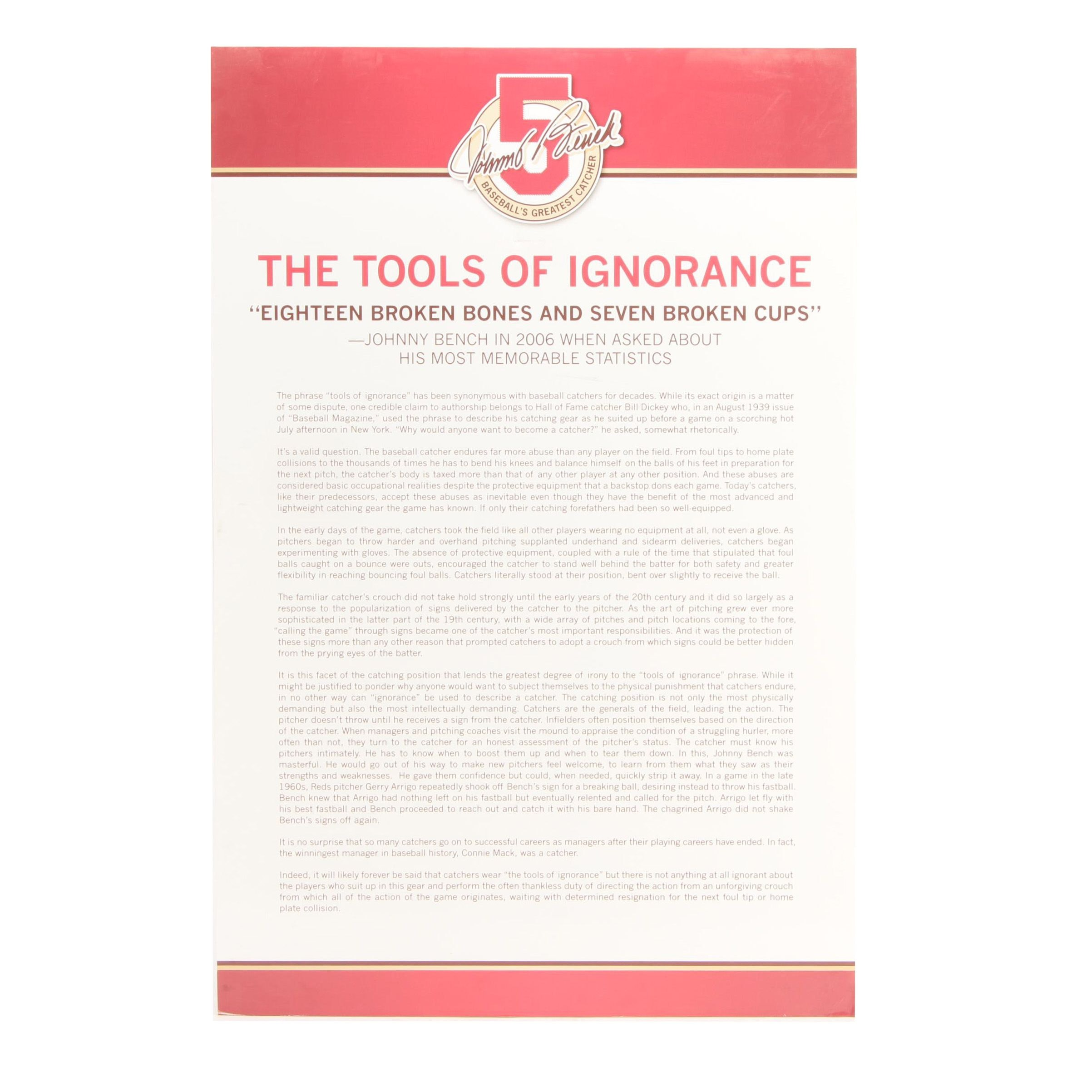 """Johnny Bench """"The Tools of Ignorance"""" Reds Hall of Fame Exhibit Display COA"""