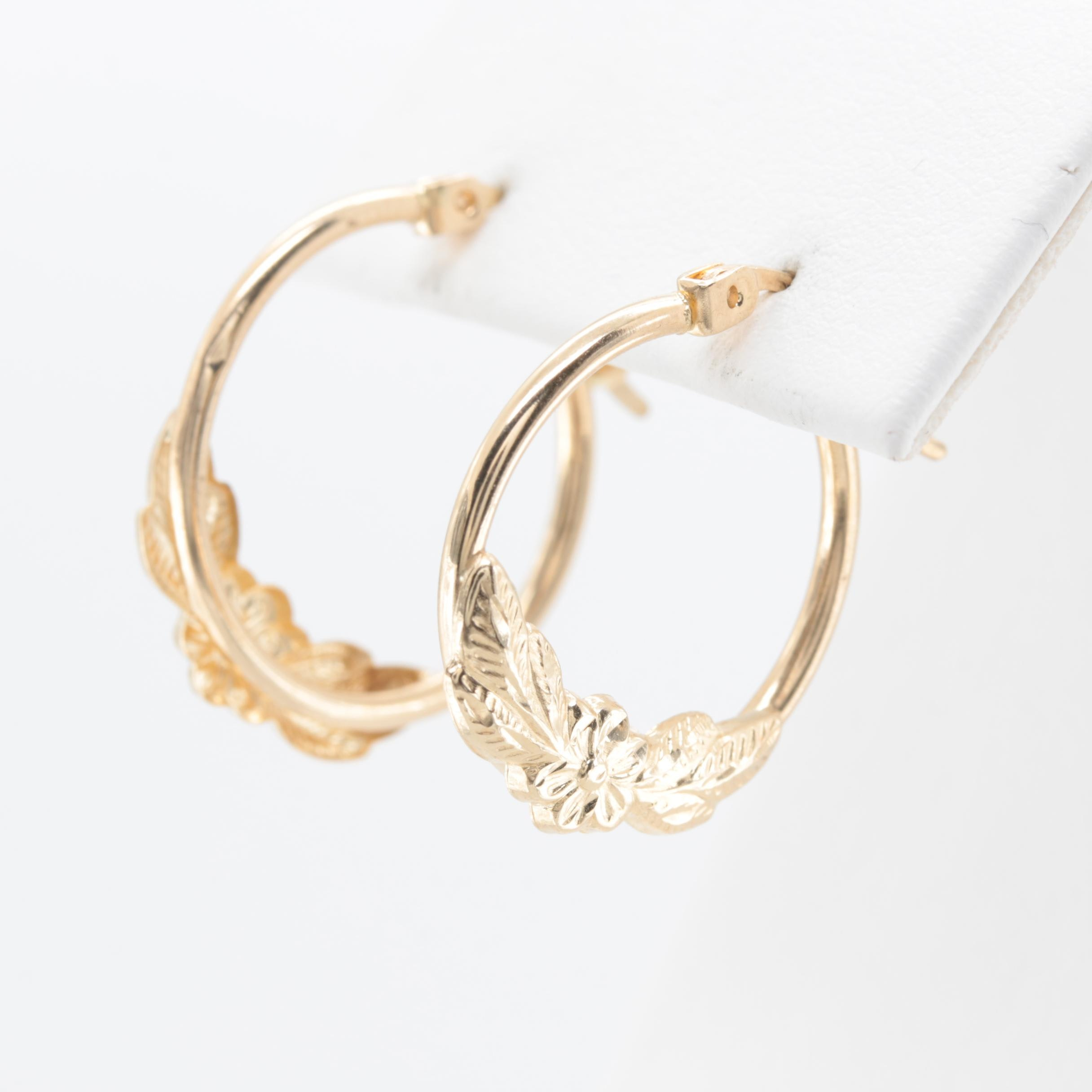 10K Yellow Gold Hoops with a Floral Motif