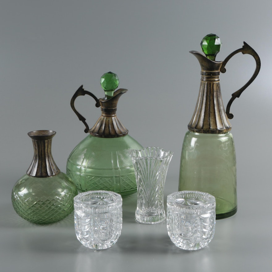 Decorative Green Cut Glass Claret Jugs With Crystal Votive Holders