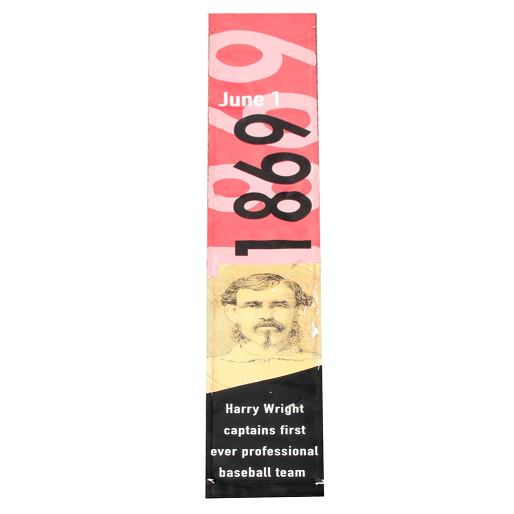 "Cincinnati Reds Hall of Fame ""1869 Red Stockings"" Street Banner COA"